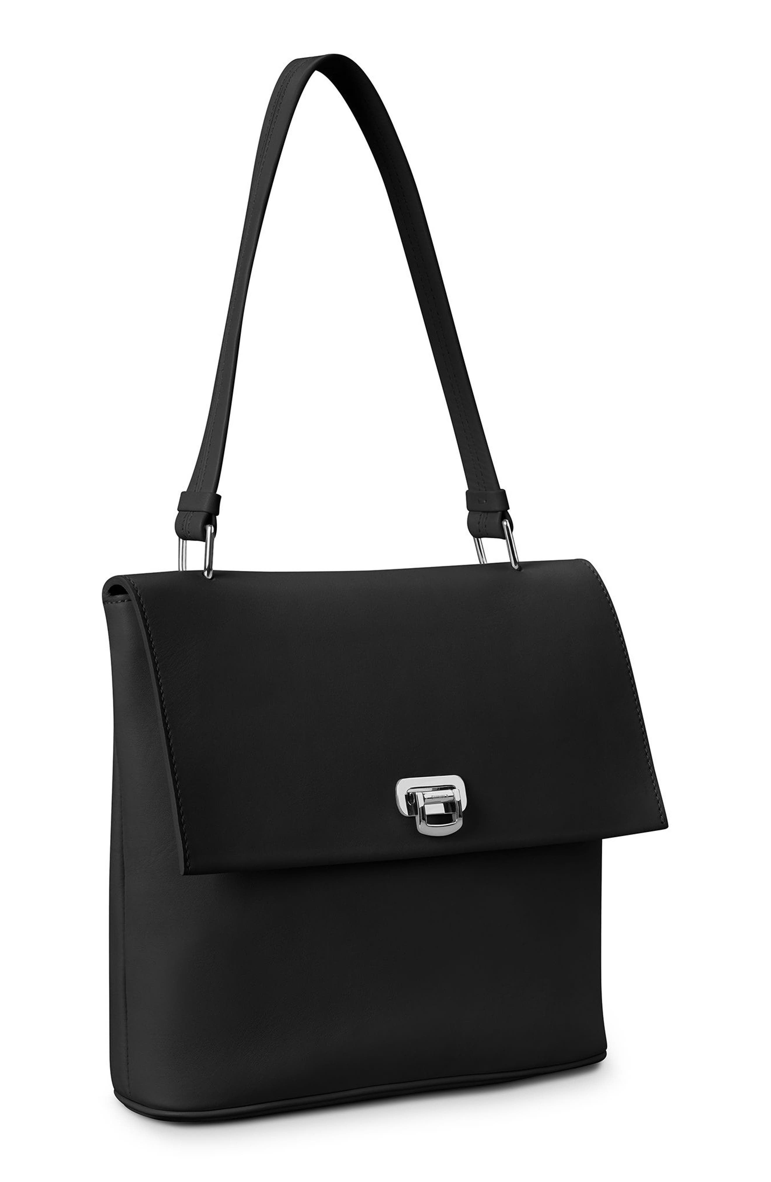Birdy Leather Shoulder Bag,                             Alternate thumbnail 5, color,                             BLACK