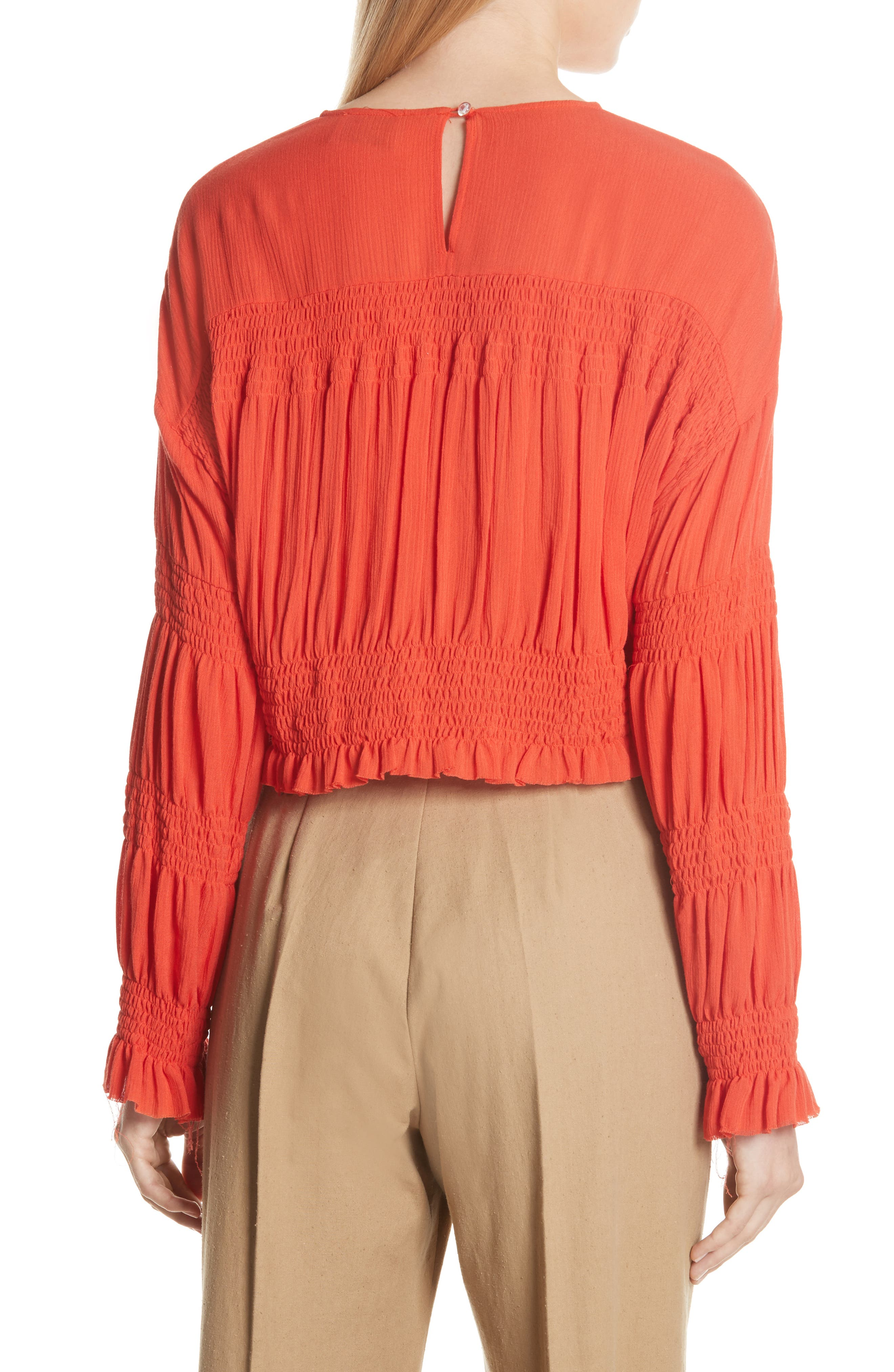 Penta Smocked Blouse,                             Alternate thumbnail 2, color,                             CORAL