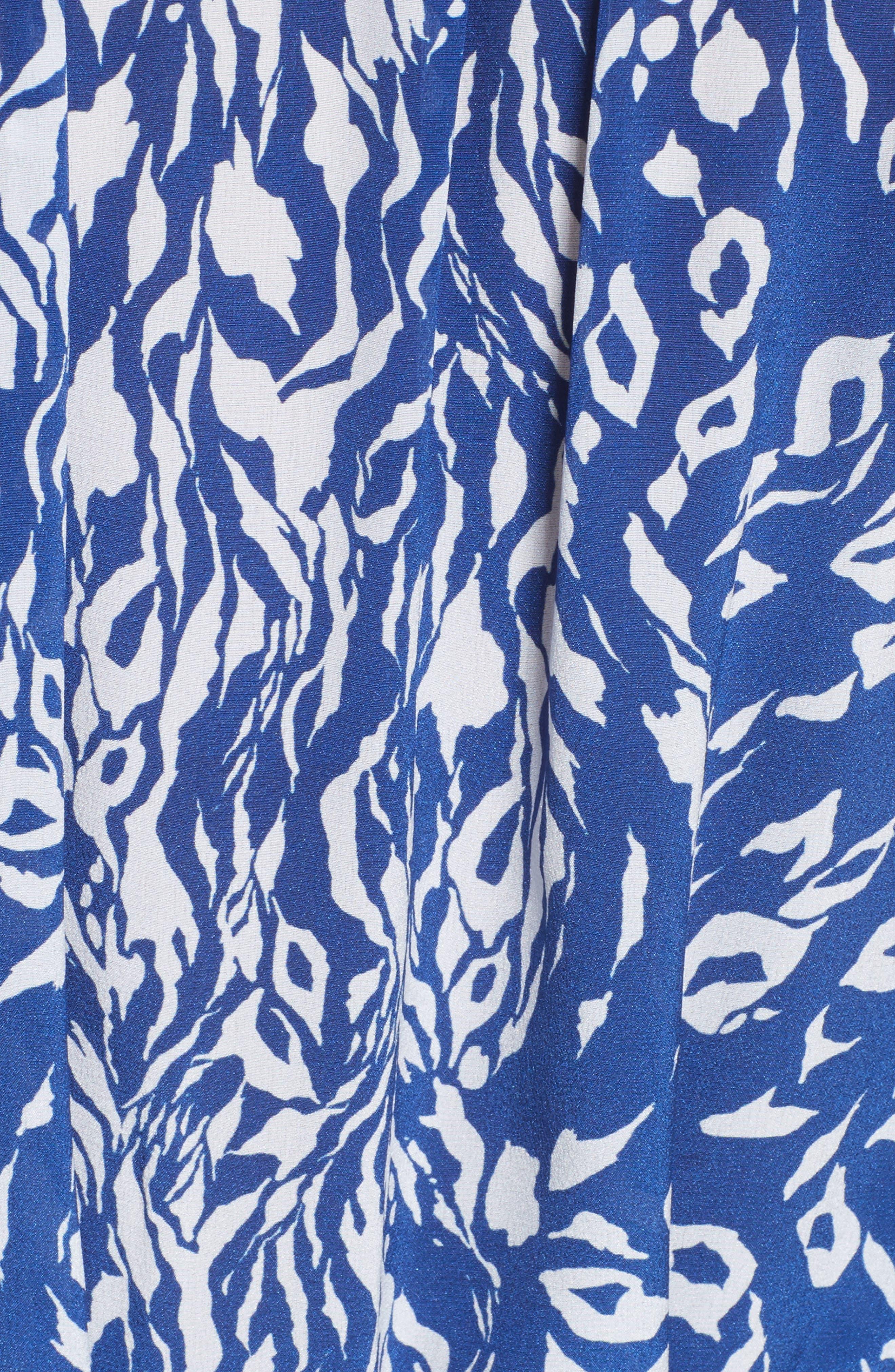 Tilly Print Silk Fit & Flare Dress,                             Alternate thumbnail 6, color,                             416