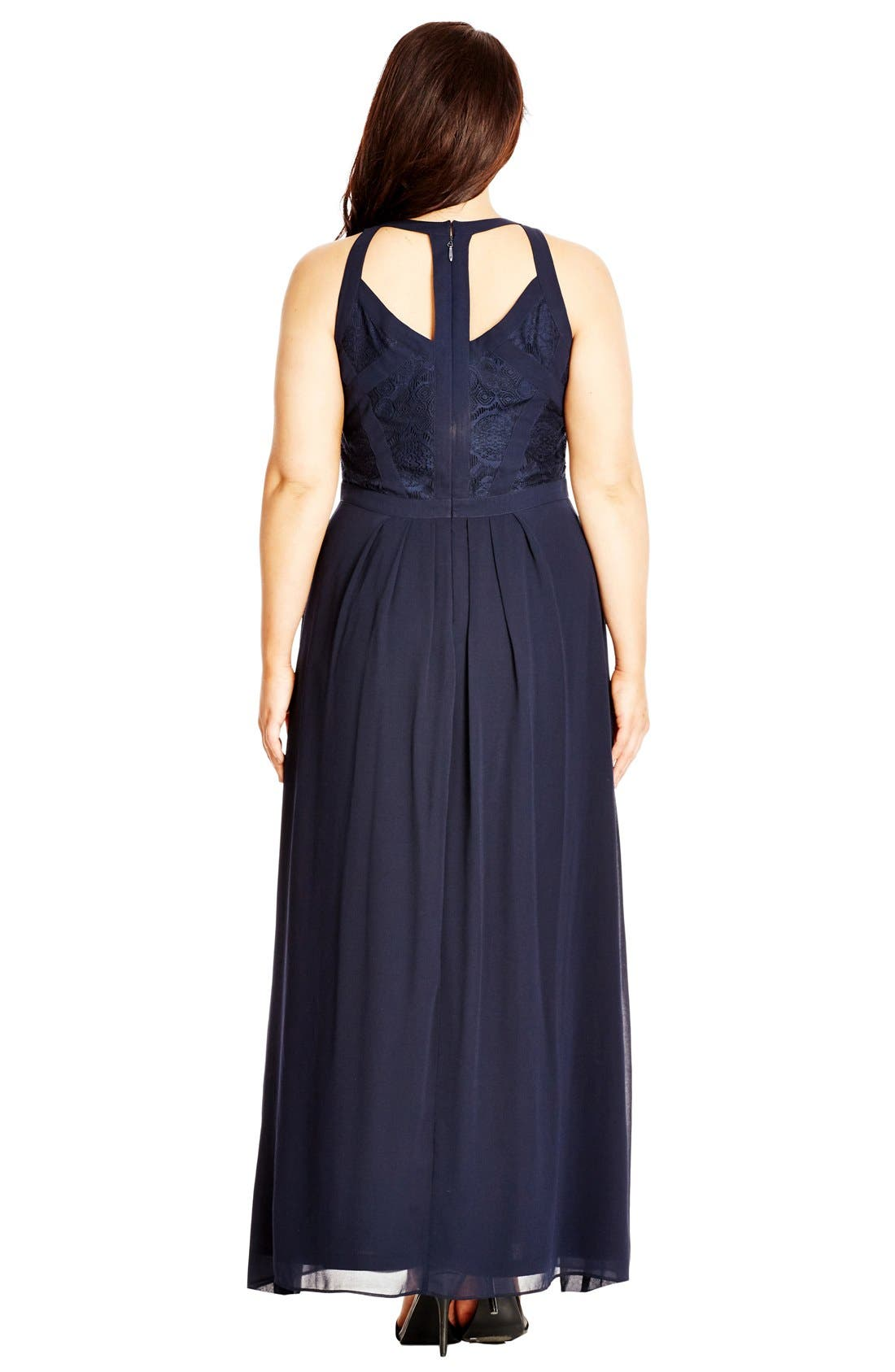 Paneled Lace Bodice Gown,                             Alternate thumbnail 16, color,