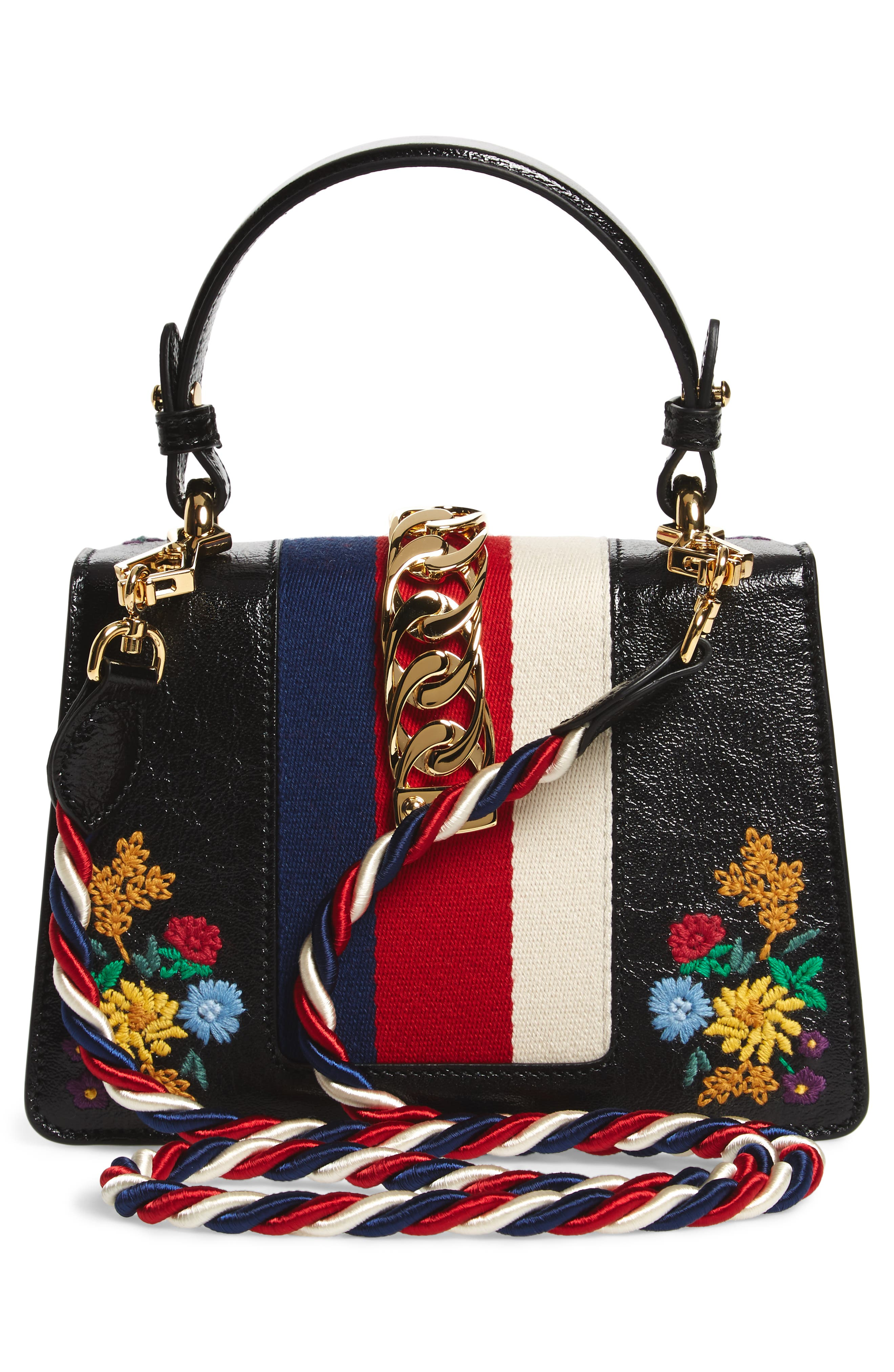 Mini Sylvie Flower Embroidery Leather Shoulder Bag,                             Alternate thumbnail 4, color,                             NERO MULTI