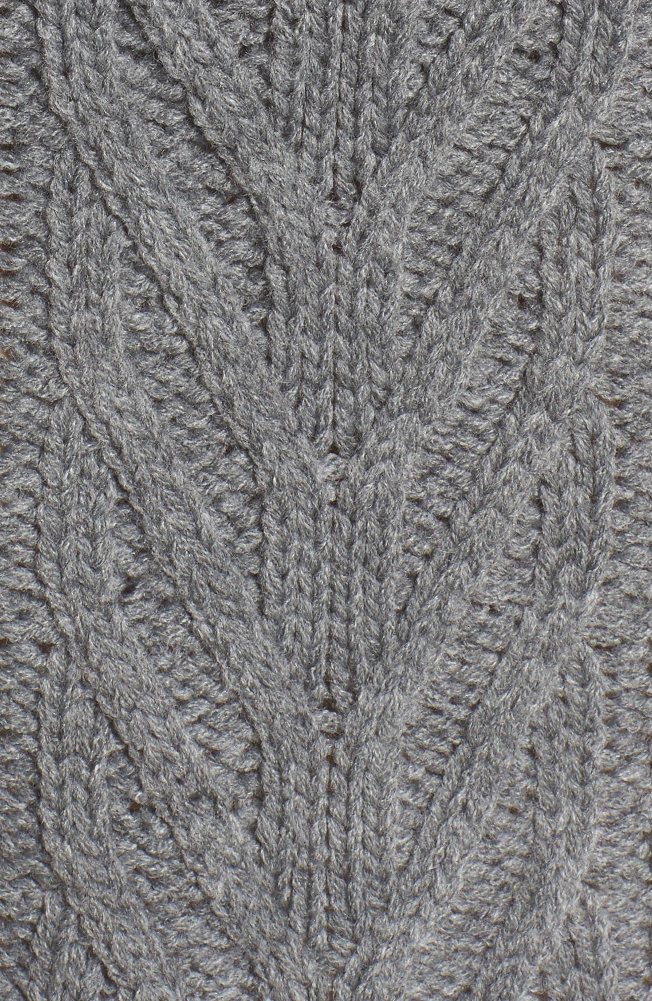 Cable Knit Turtleneck Sweater,                             Alternate thumbnail 5, color,                             020