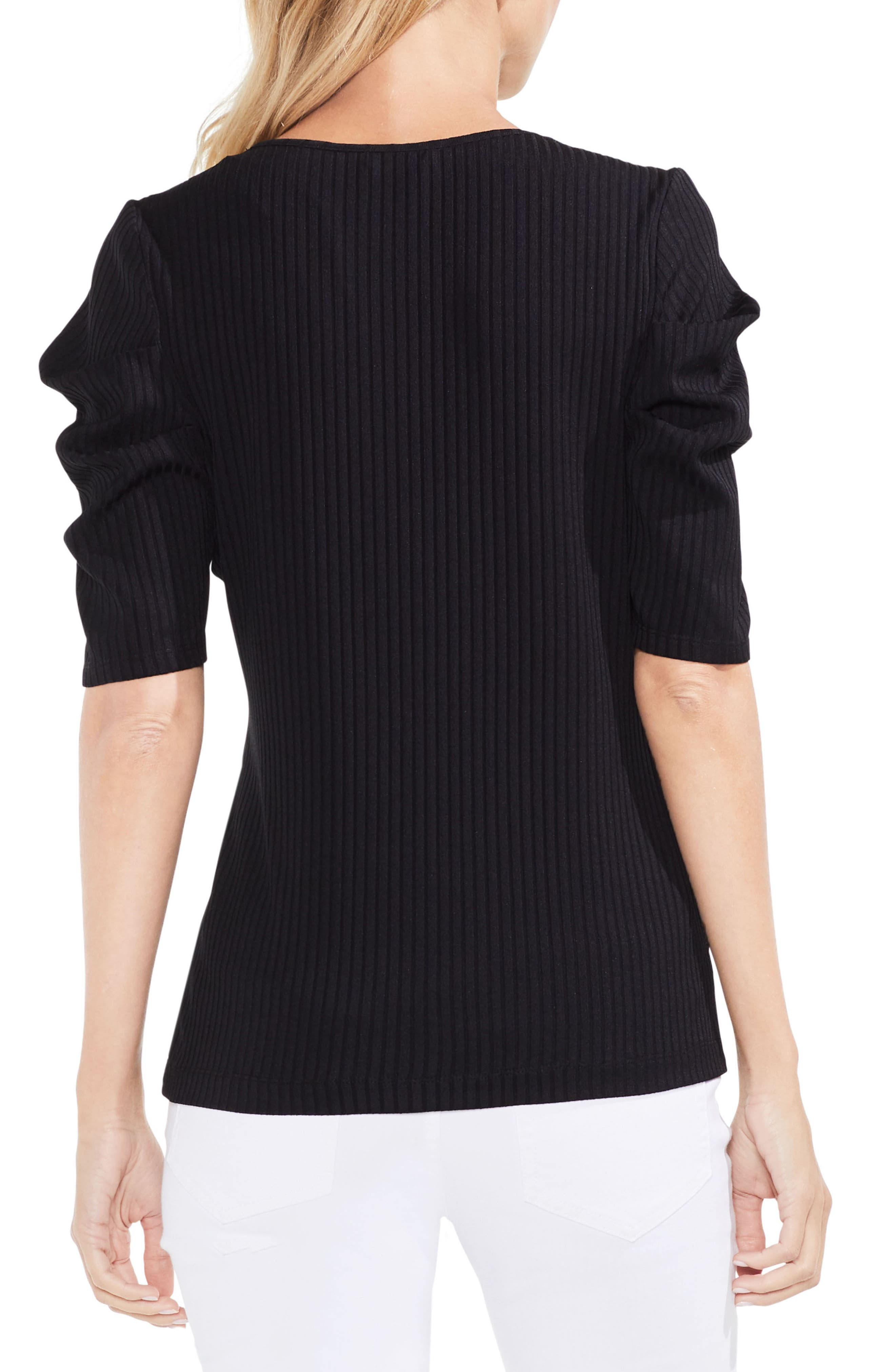 Draped Sleeve Ribbed Tee,                             Alternate thumbnail 5, color,