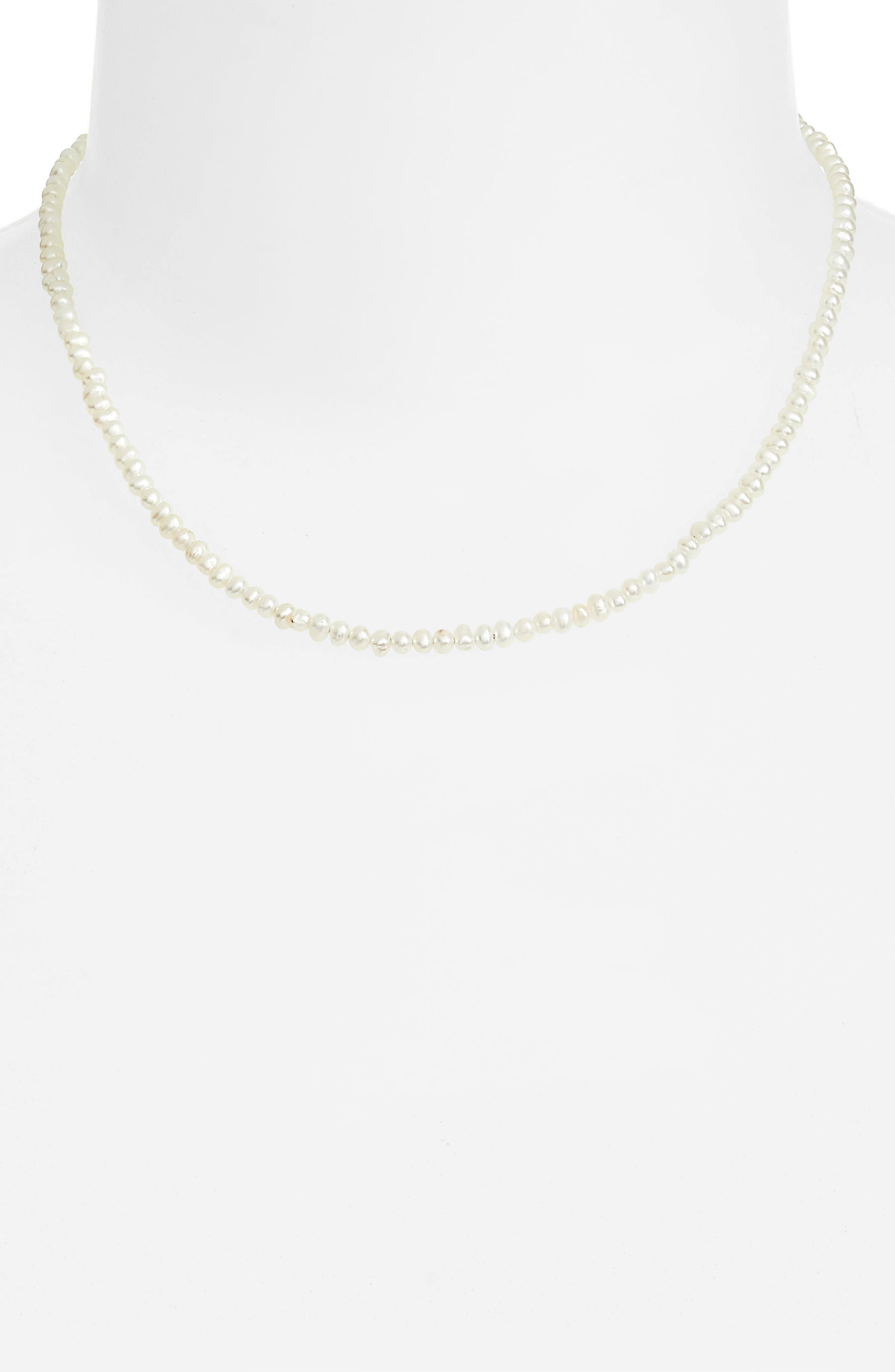 Seed Pearl Necklace,                             Alternate thumbnail 3, color,                             STERLING SILVER/ PEARL