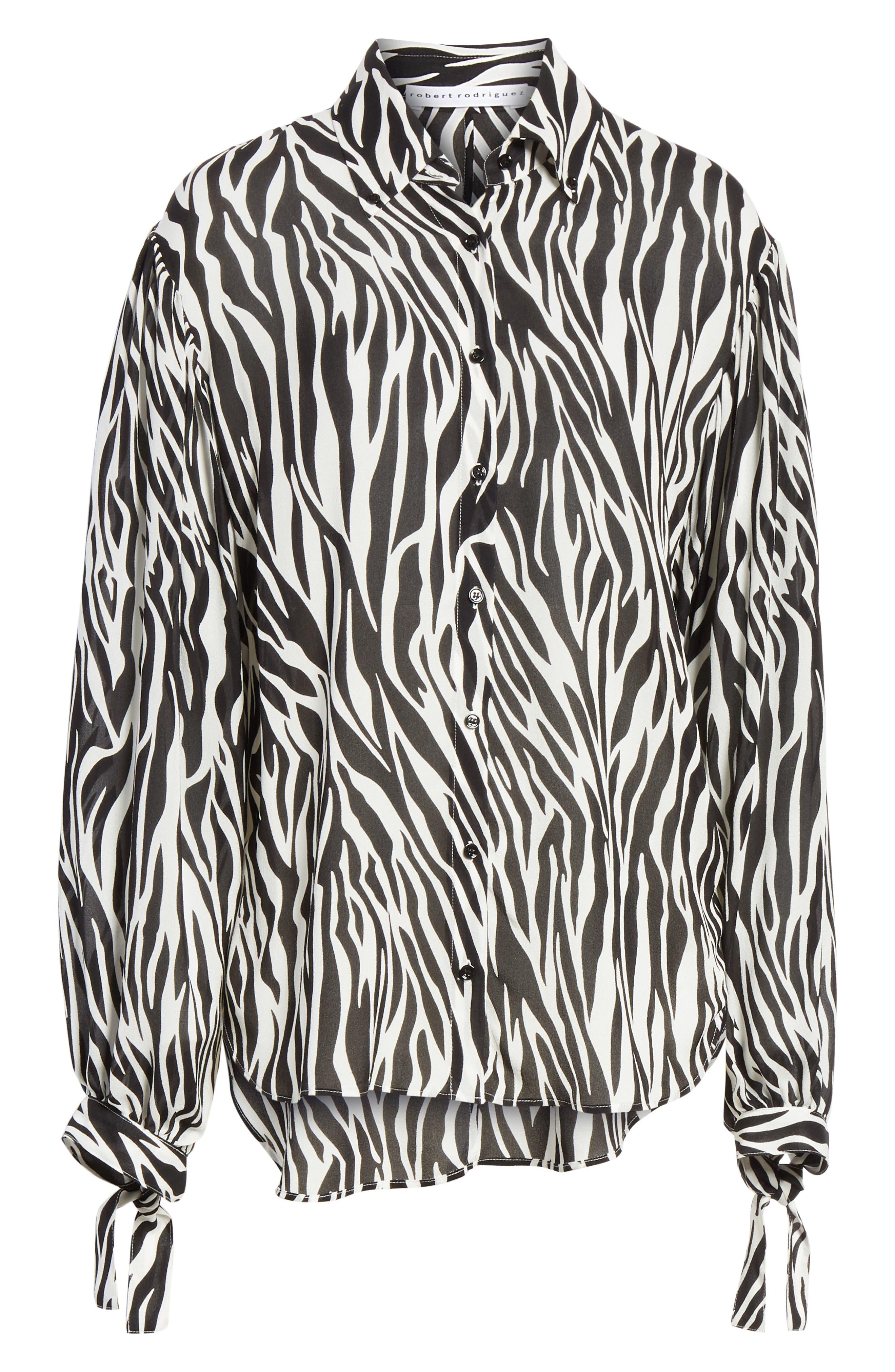 Zebra Print Tie Cuff Blouse,                             Alternate thumbnail 6, color,                             001