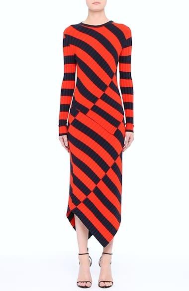 Asymmetrical Stripe Midi Skirt, video thumbnail