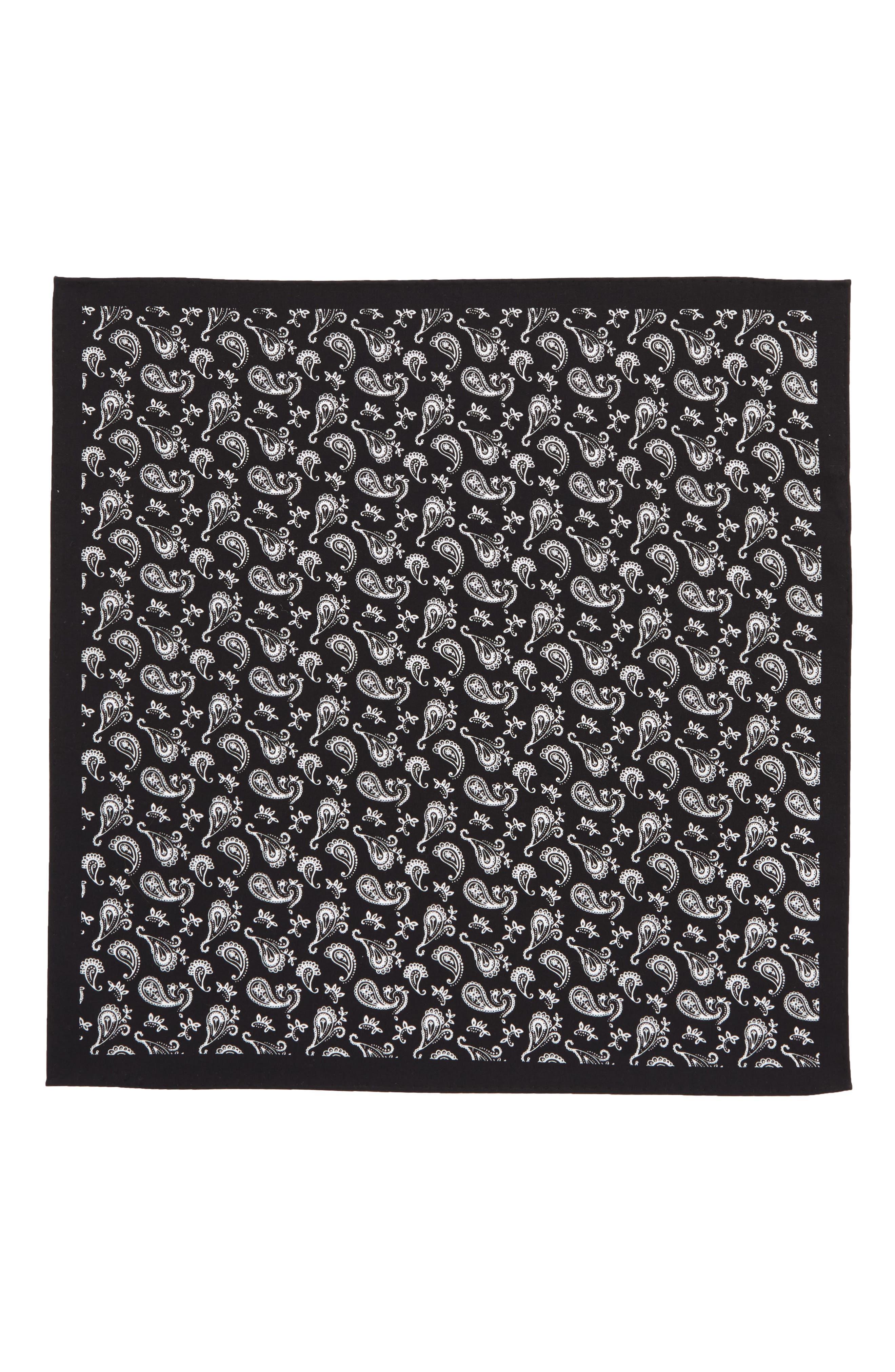 Peloso Paisley Cotton Pocket Square,                             Alternate thumbnail 2, color,                             001
