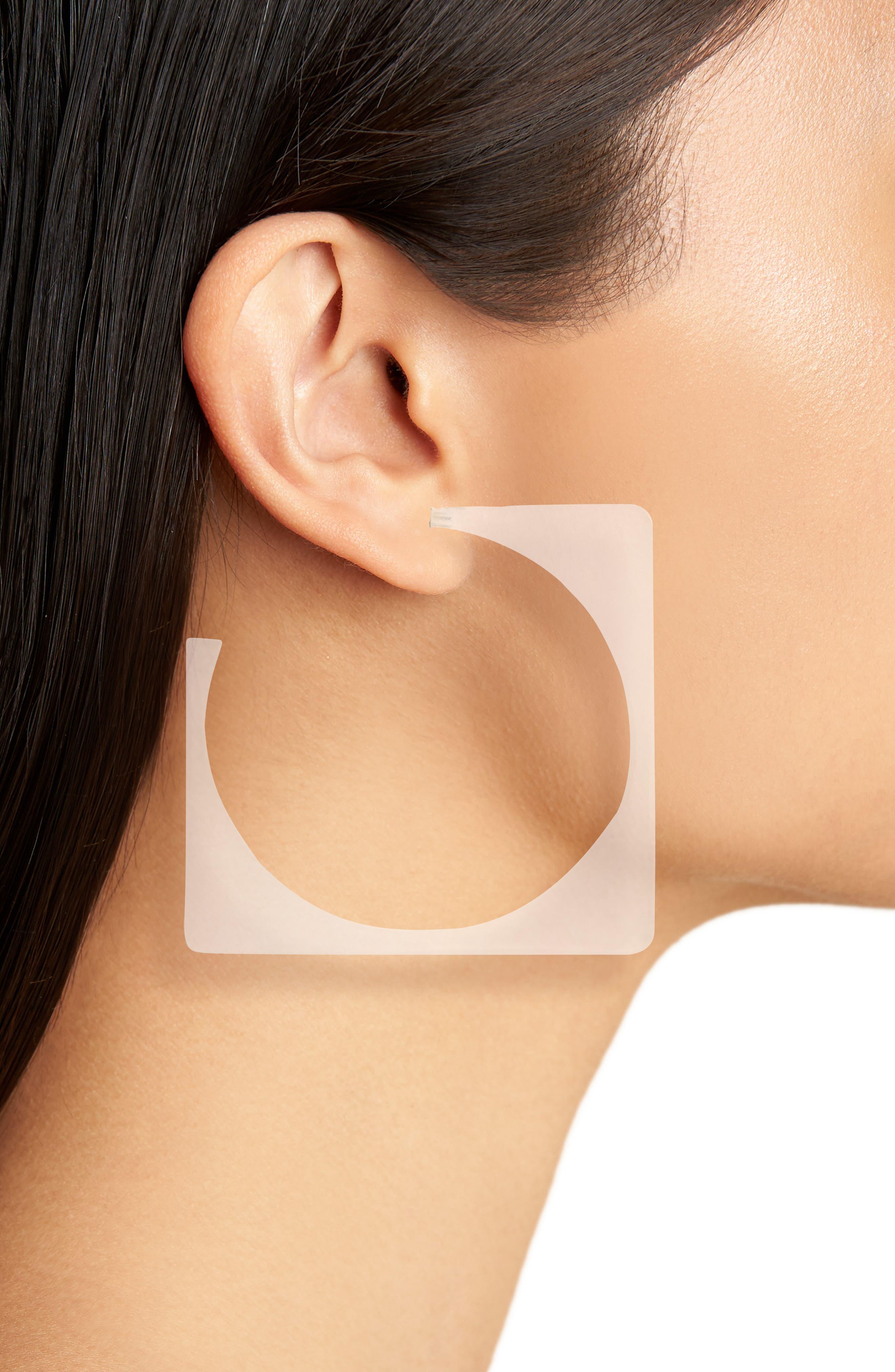 Tuck Hoop Earrings,                             Alternate thumbnail 2, color,                             CLEAR