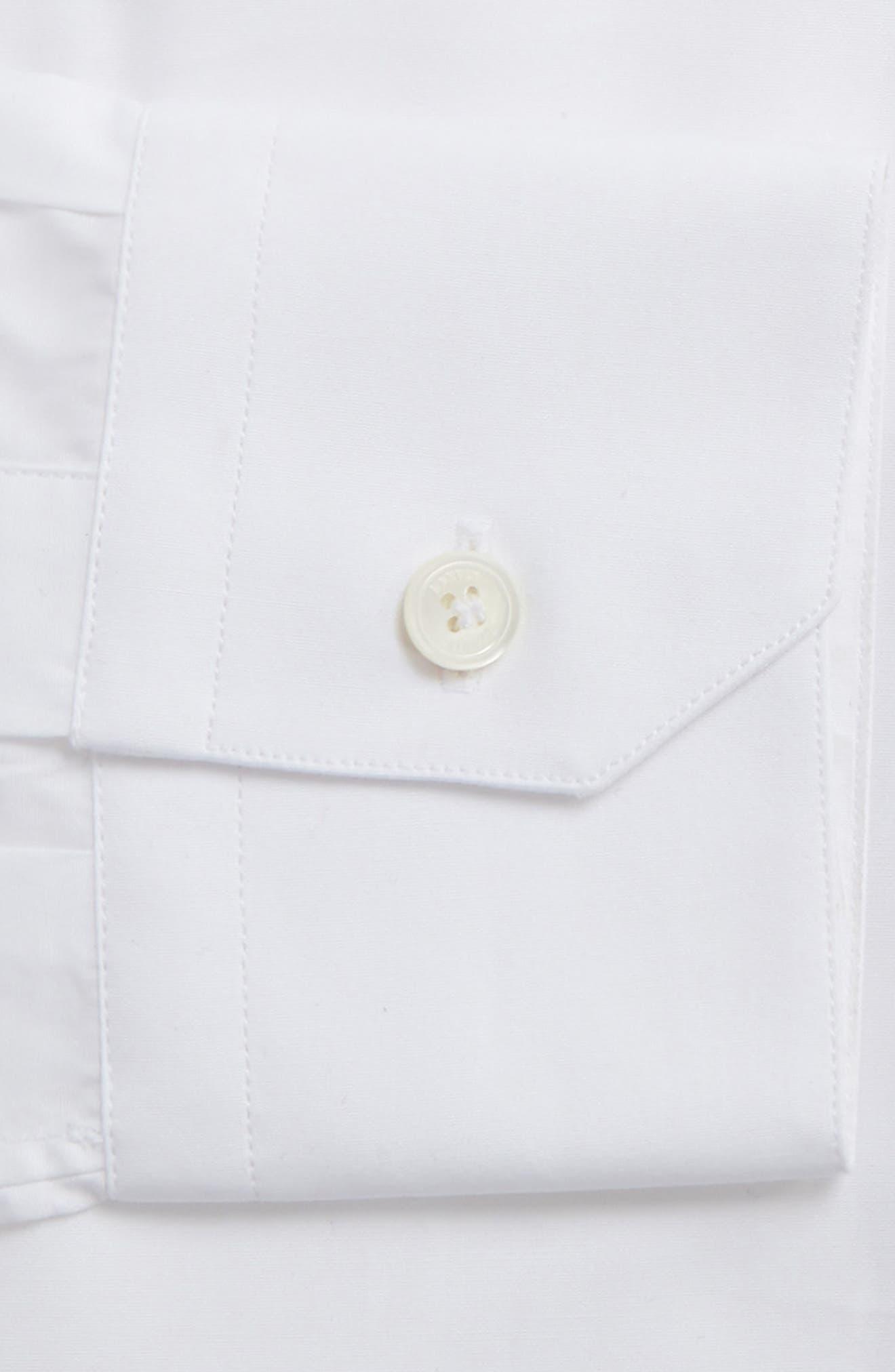 Extra Trim Fit Cotton Dress Shirt,                             Alternate thumbnail 6, color,                             100