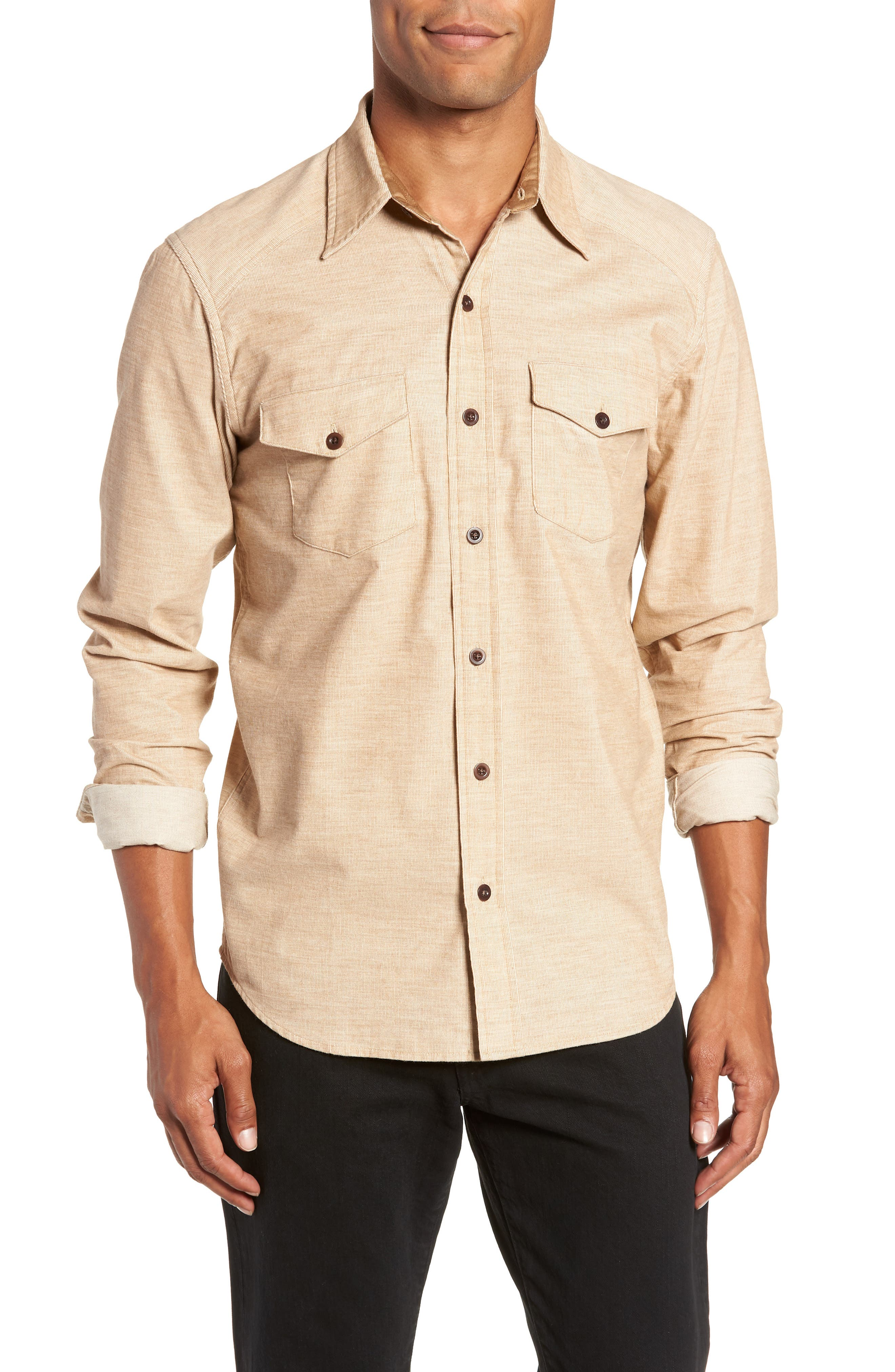 John Addison Engineer Shirt,                         Main,                         color, KHAKI HEATHER