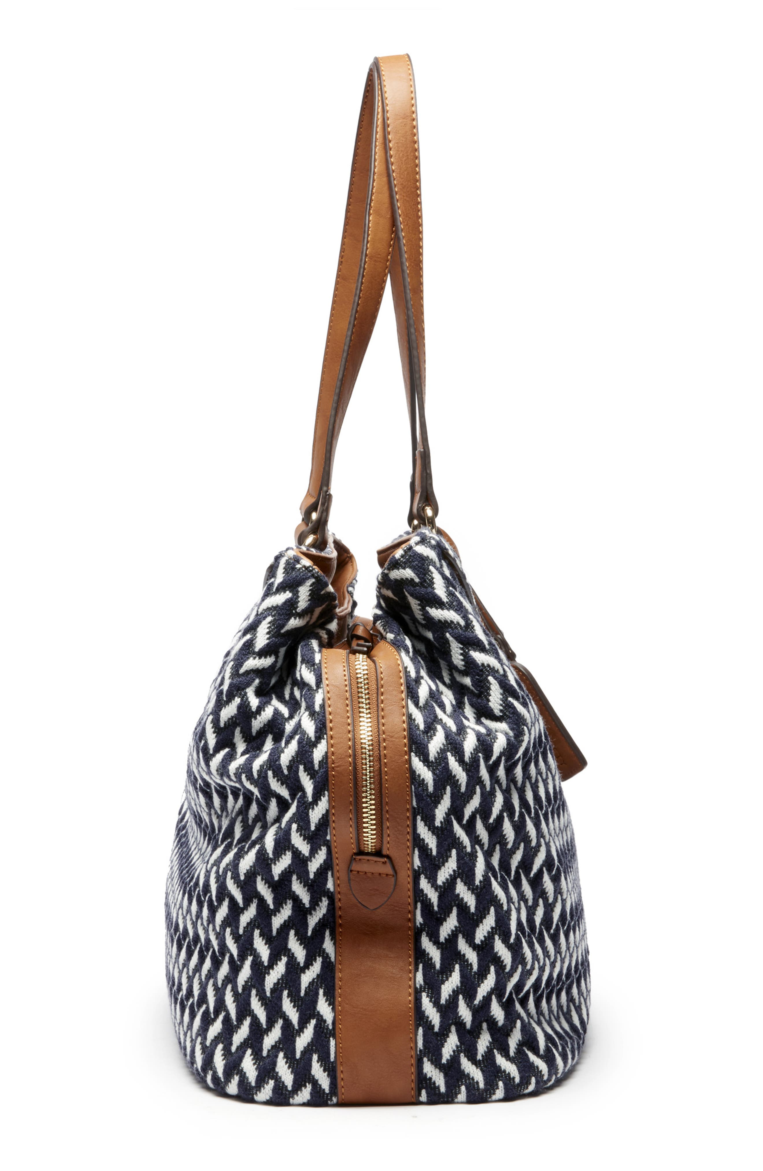 Ginny Woven Tote,                             Alternate thumbnail 4, color,                             NAVY COMBO
