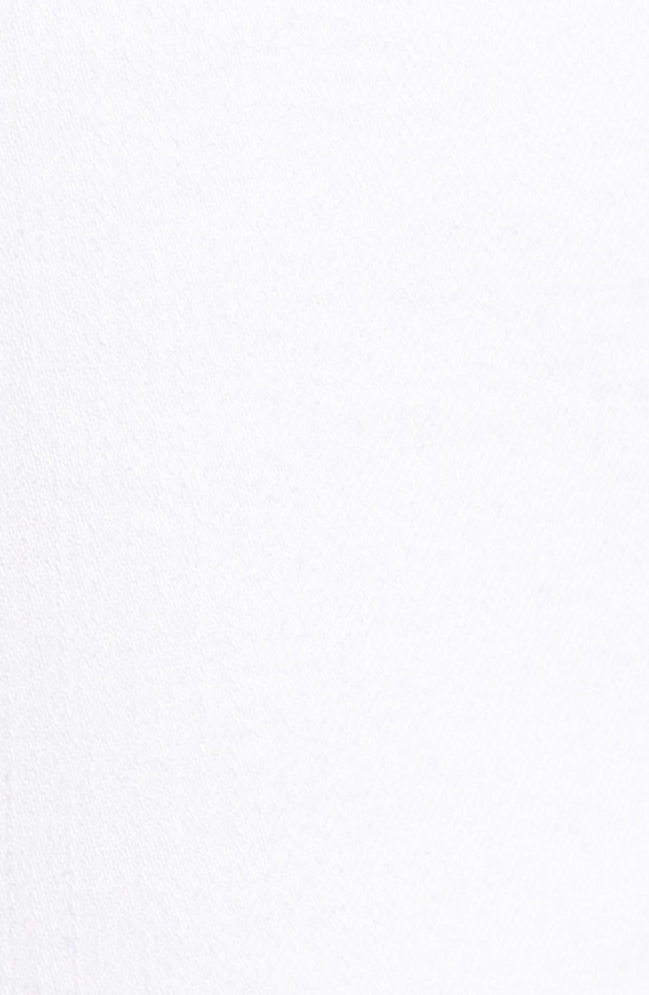 Crystal Hem Ankle Skinny Jeans,                             Alternate thumbnail 5, color,                             WHITE