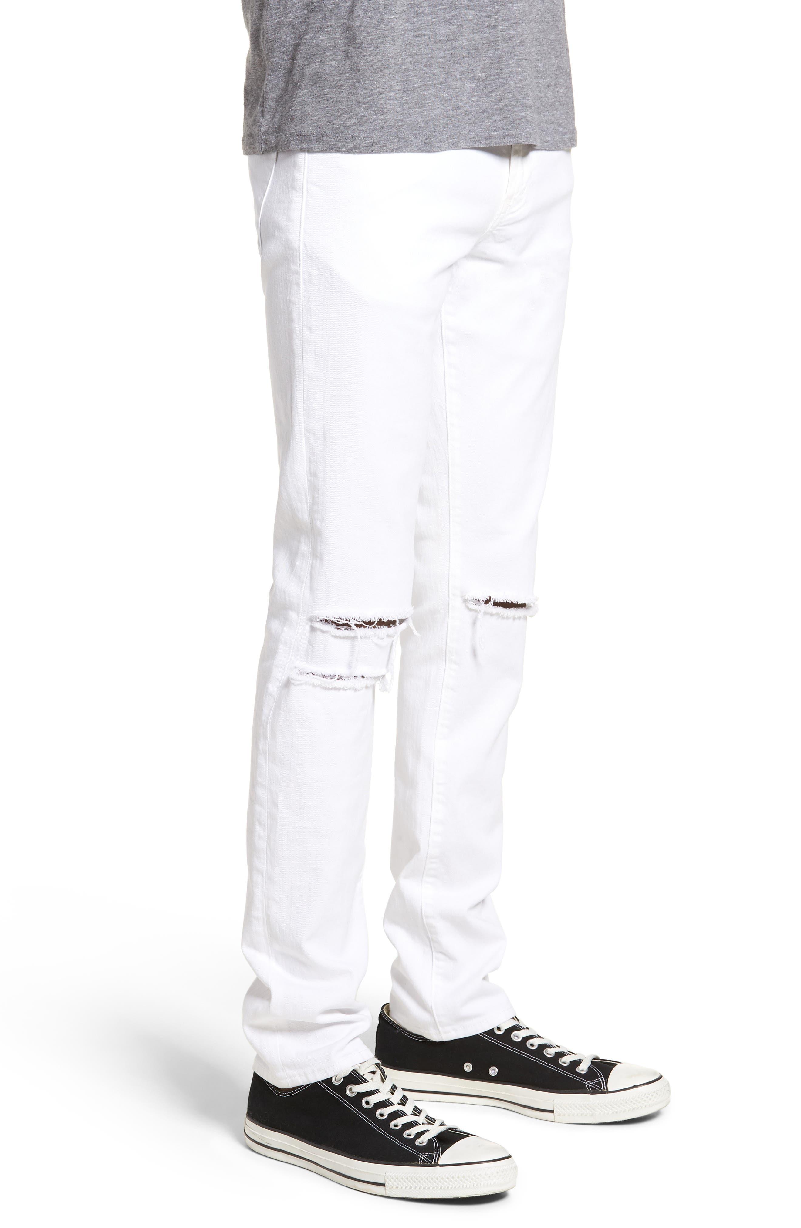 Mick Distressed Skinny Fit Jeans,                             Alternate thumbnail 3, color,                             WHITMAN OAK