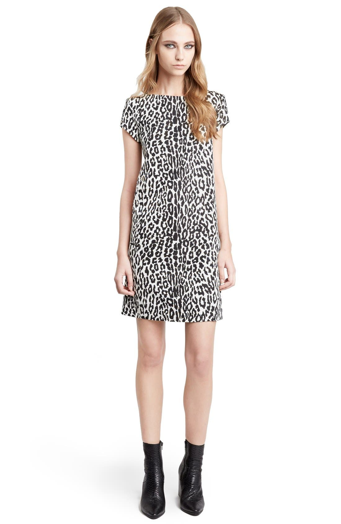 Leopard Print Shift Dress,                             Main thumbnail 1, color,                             126