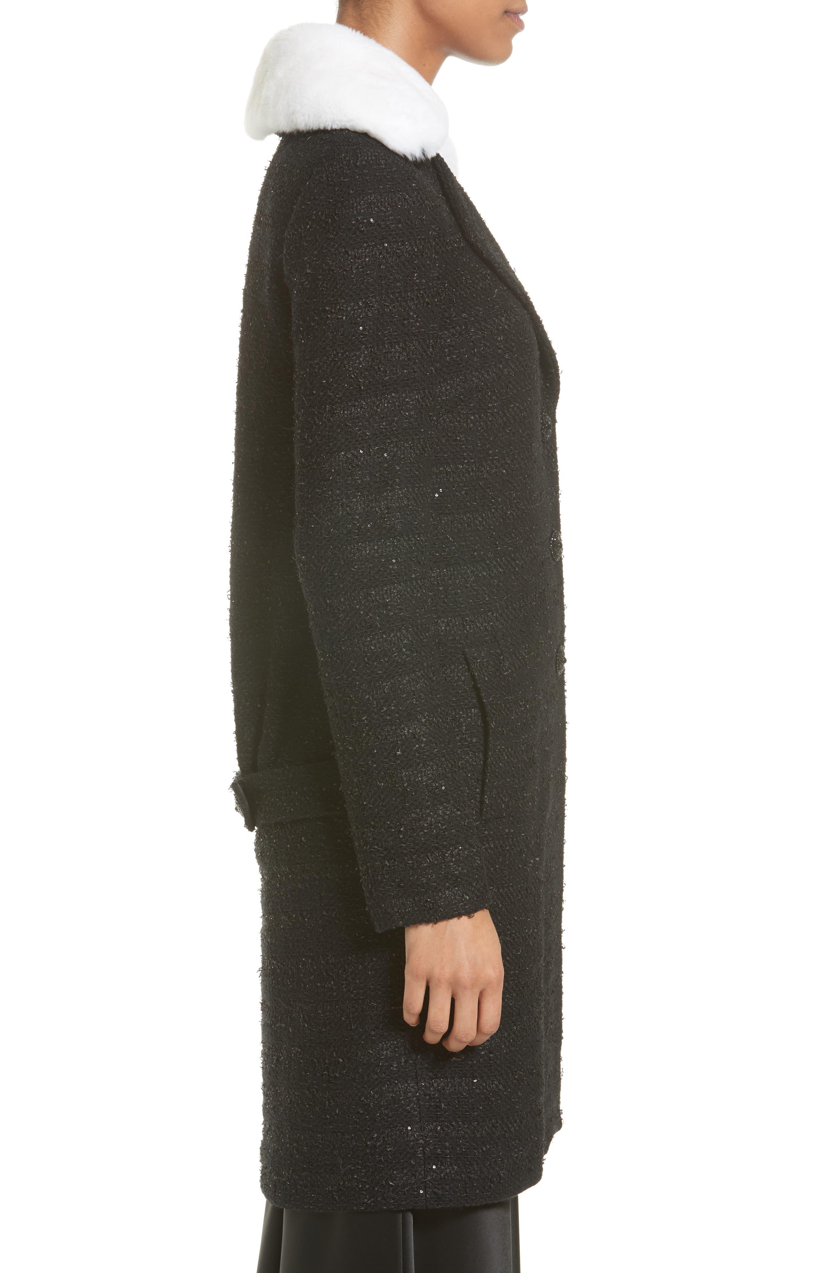 Sequin Knit Topper with Detachable Genuine Rabbit Fur Collar,                             Alternate thumbnail 4, color,                             001