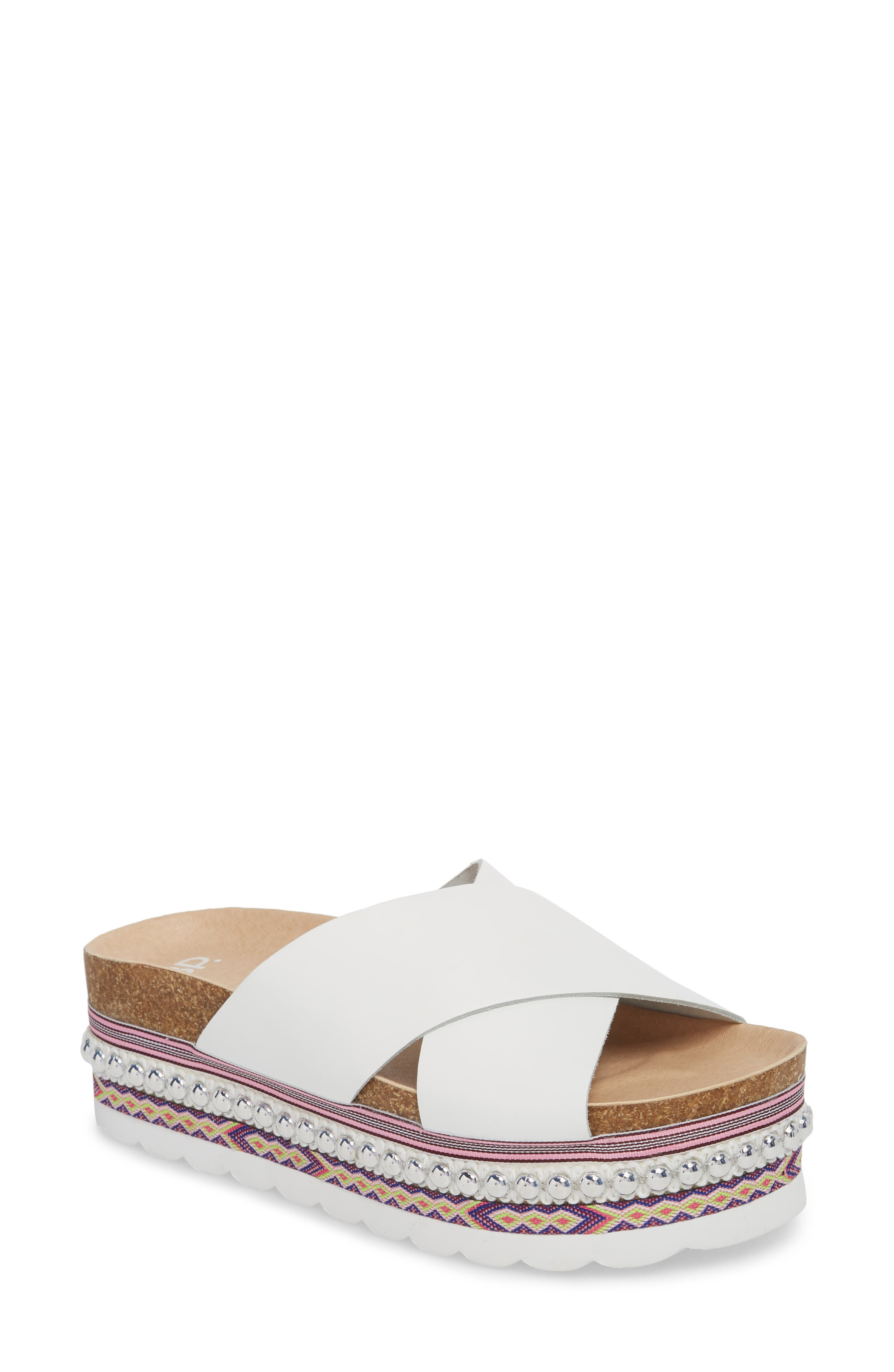 Torri Platform Slide Sandal,                         Main,                         color, WHITE LEATHER