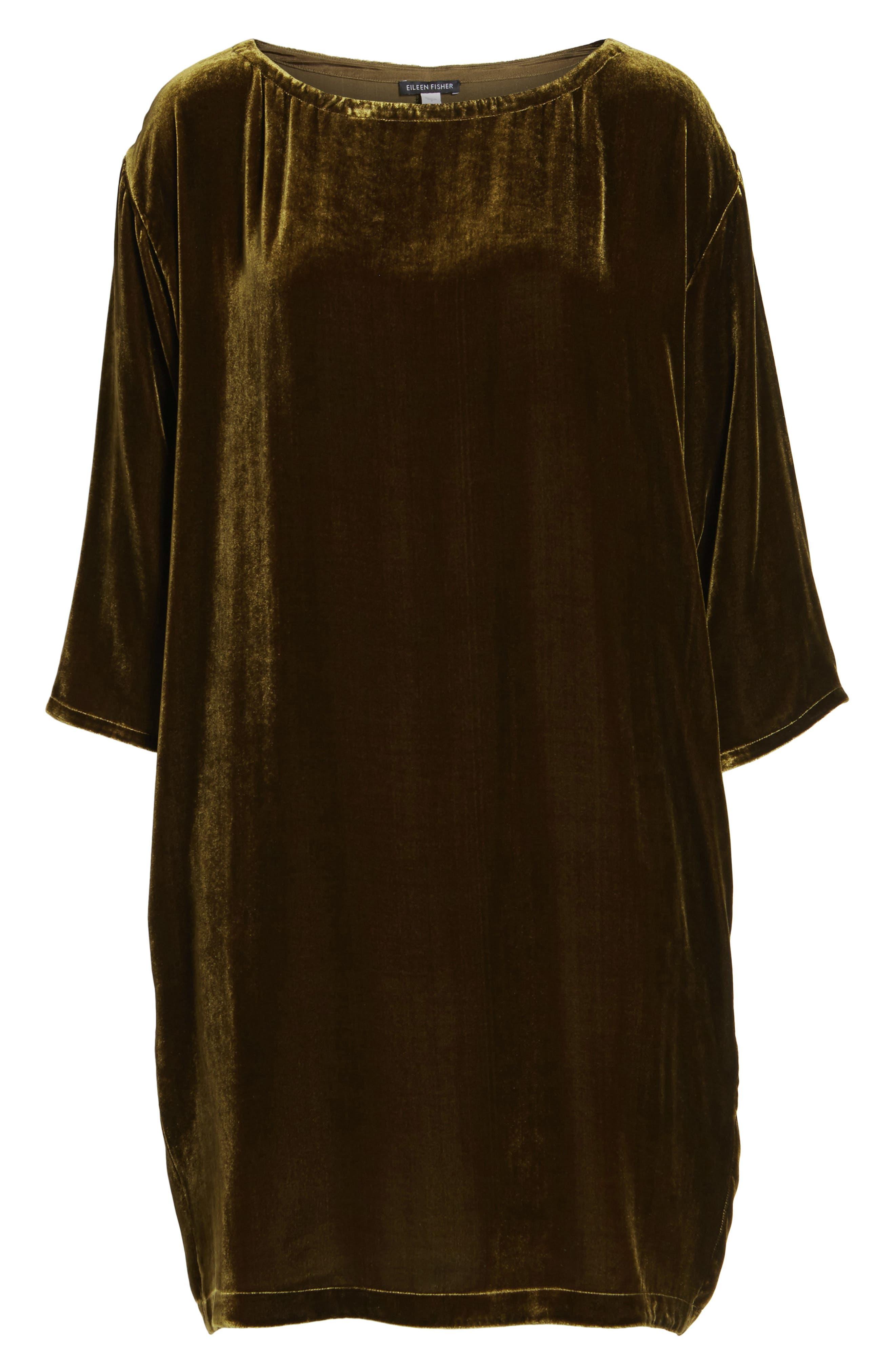 Velvet Shift Dress,                             Alternate thumbnail 7, color,                             342