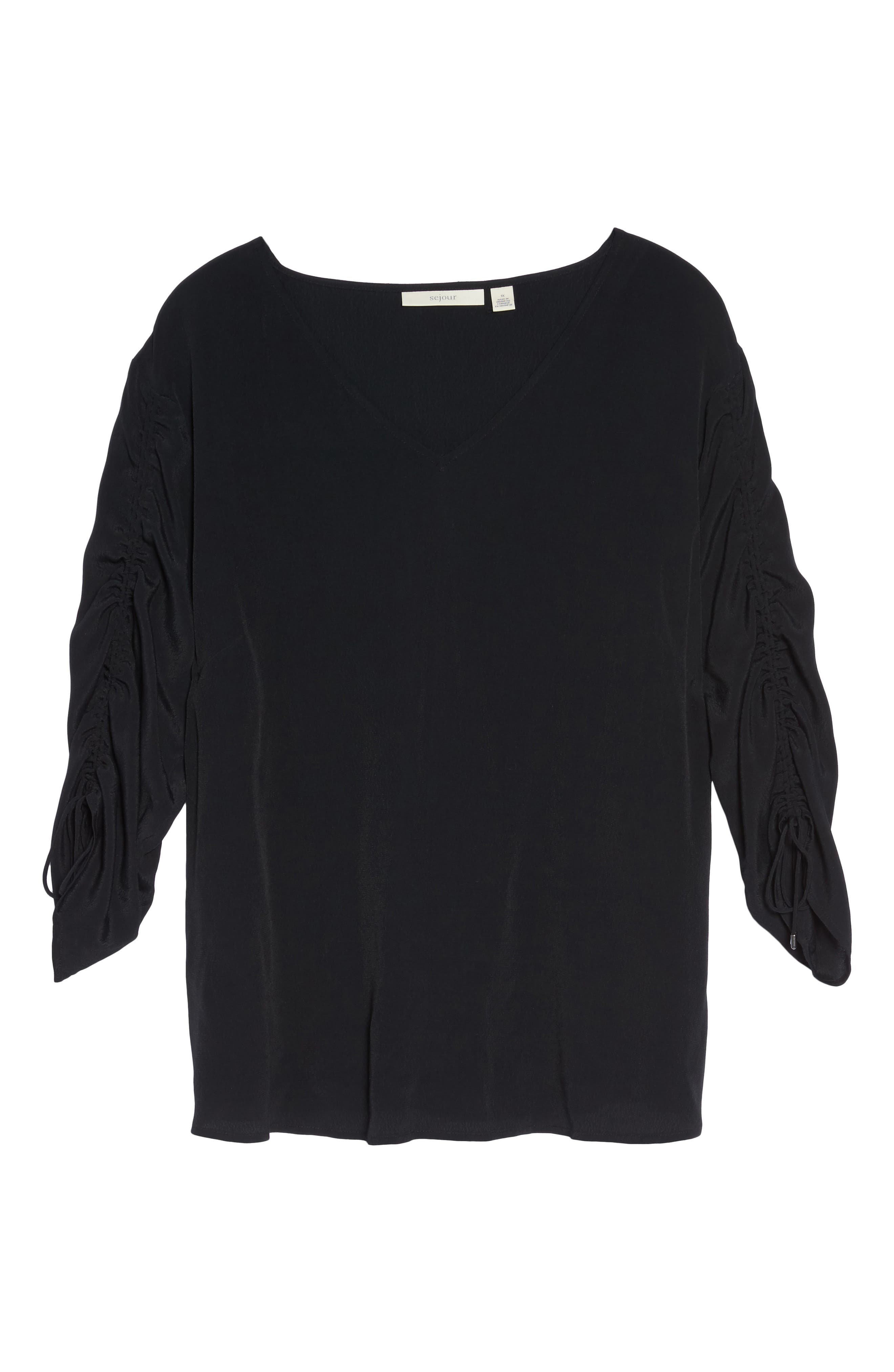 Cinched Sleeve Top,                             Alternate thumbnail 6, color,                             001