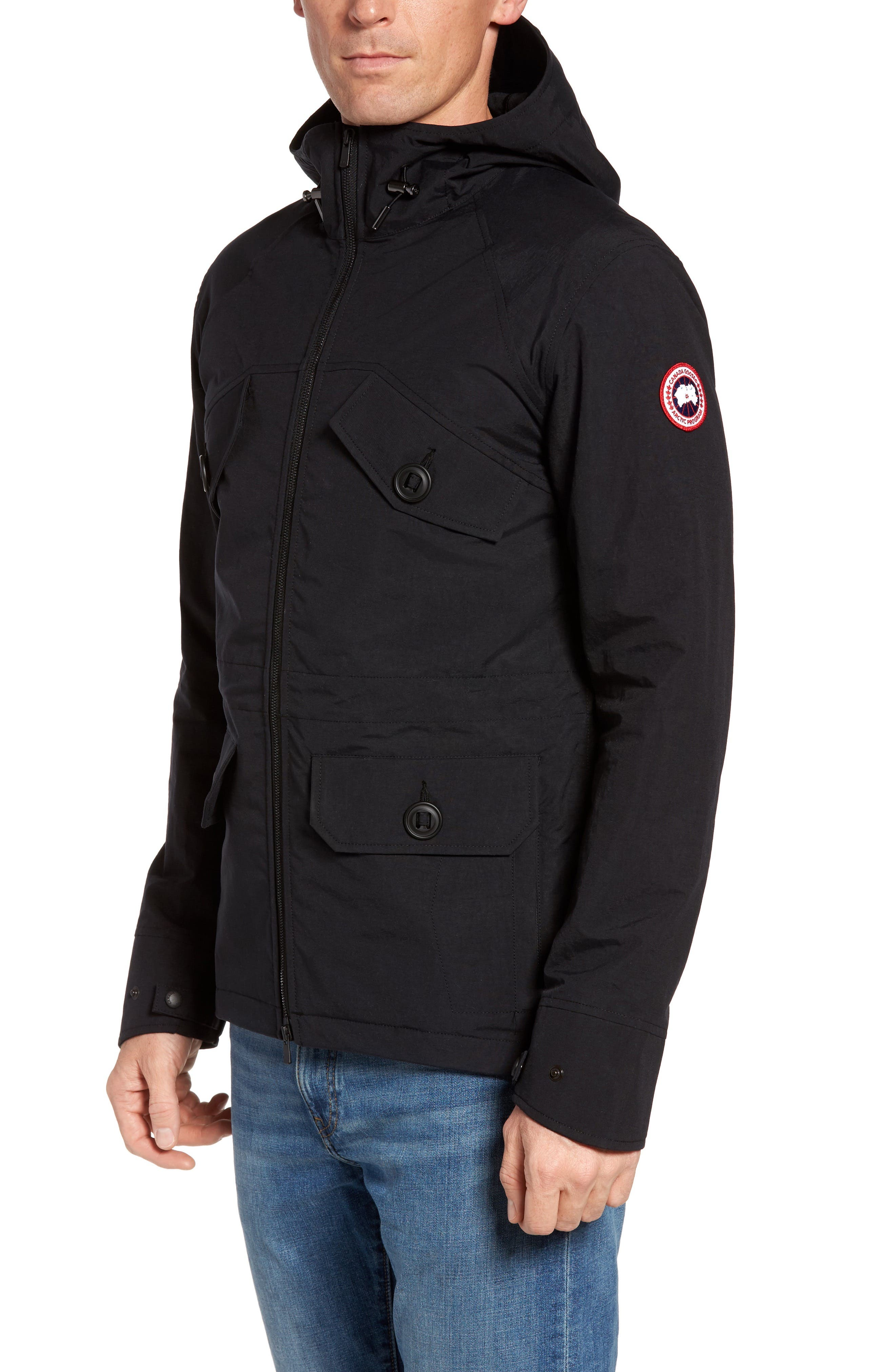 CANADA GOOSE,                             Redstone Slim Fit Hooded Jacket,                             Main thumbnail 1, color,                             001