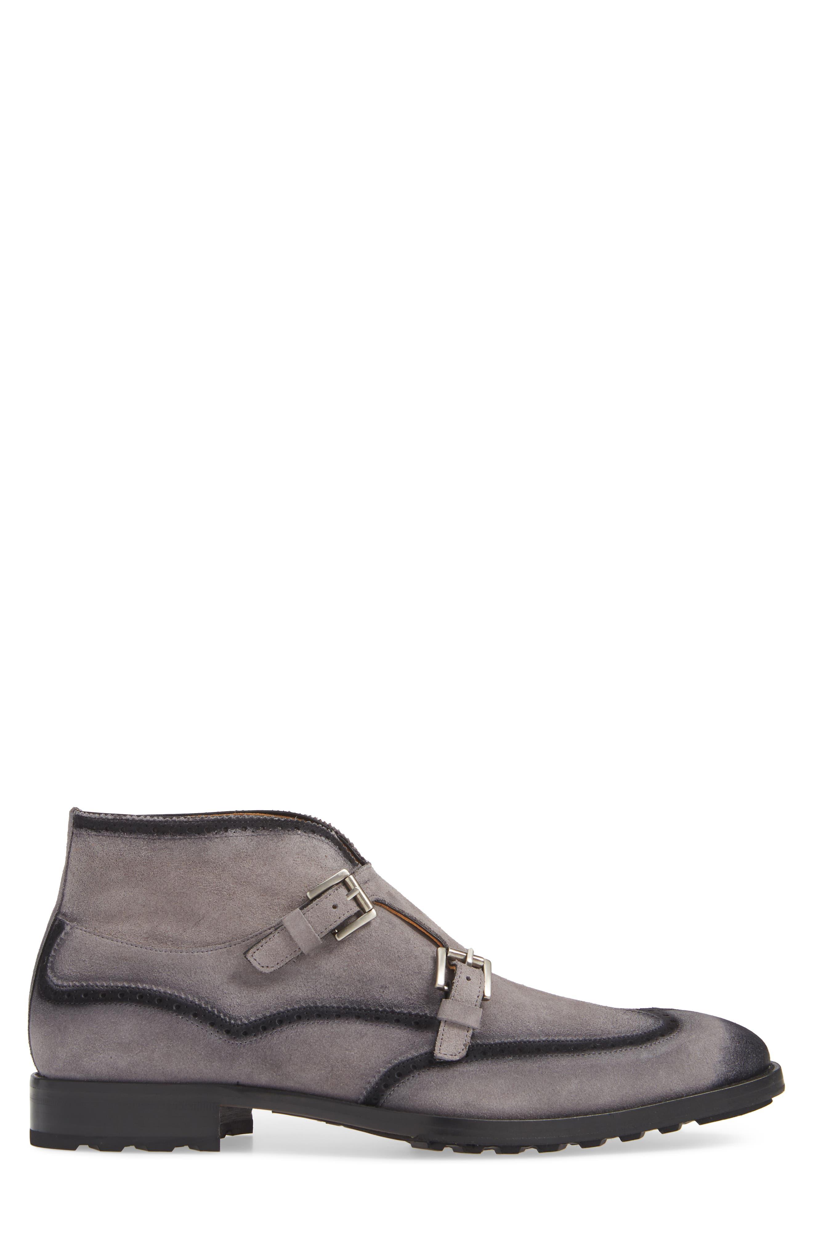 Munoz Double Monk Strap Boot,                             Alternate thumbnail 3, color,                             GREY SUEDE