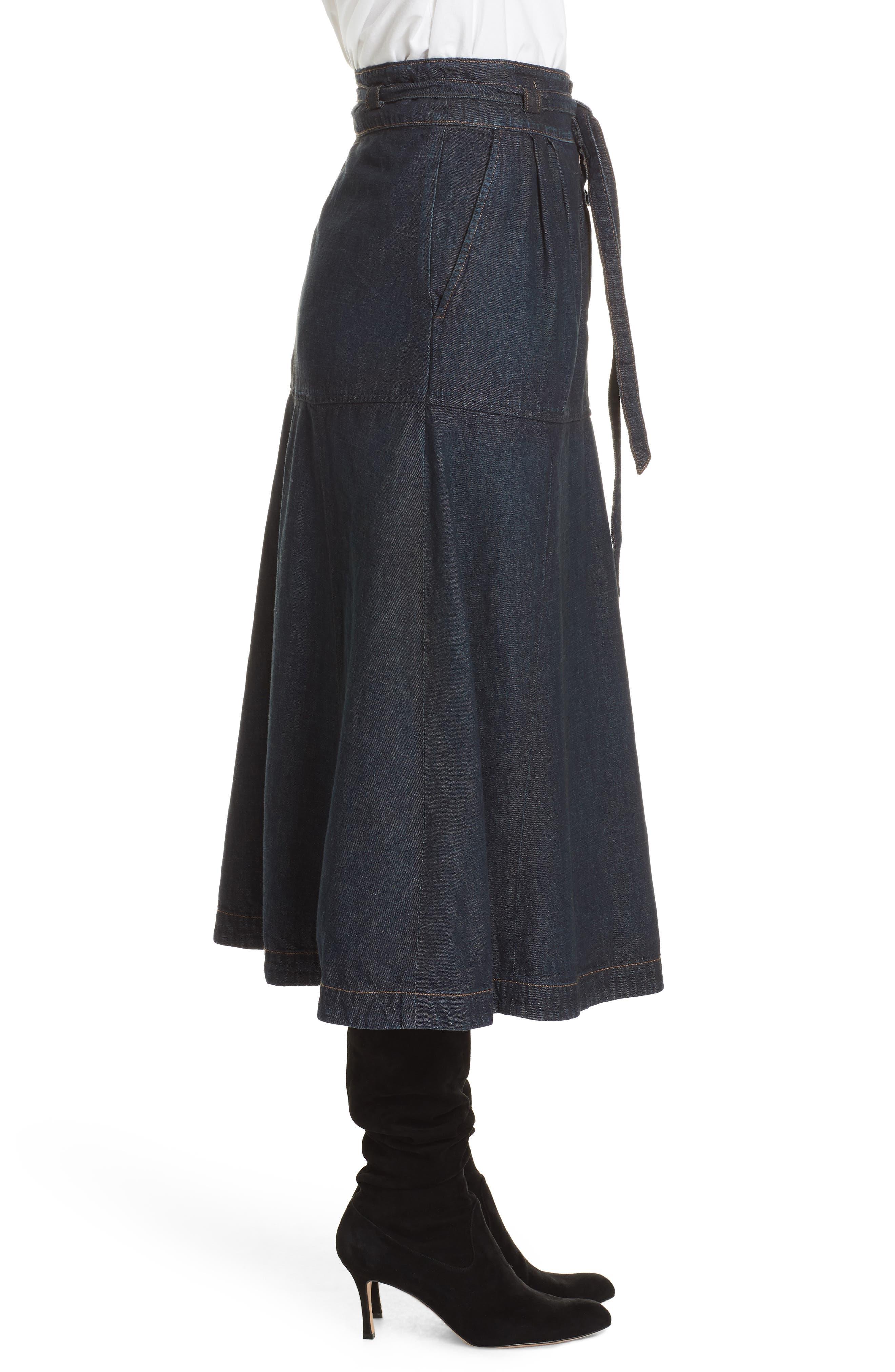 Denim Midi Skirt,                             Alternate thumbnail 3, color,                             DARK INDIGO