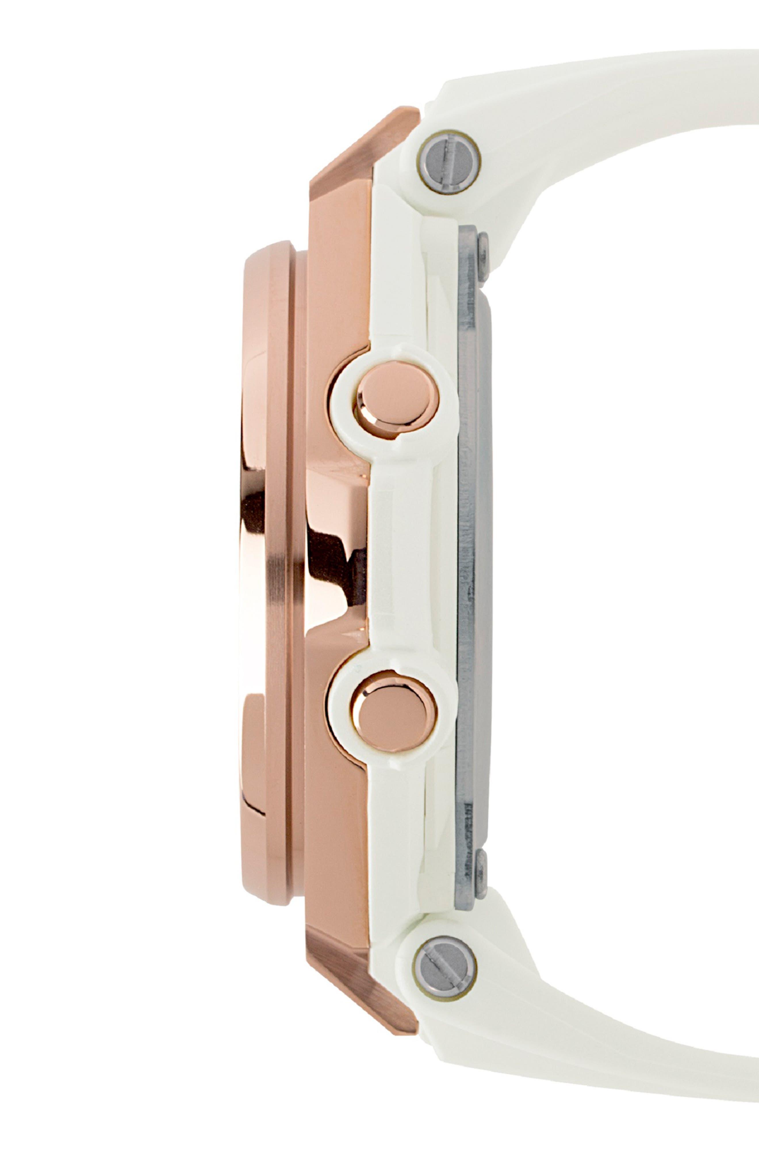 G-Shock G-MS Ana-Digi Resin Strap Watch, 38mm,                             Alternate thumbnail 3, color,                             WHITE/ GREY/ ROSE GOLD