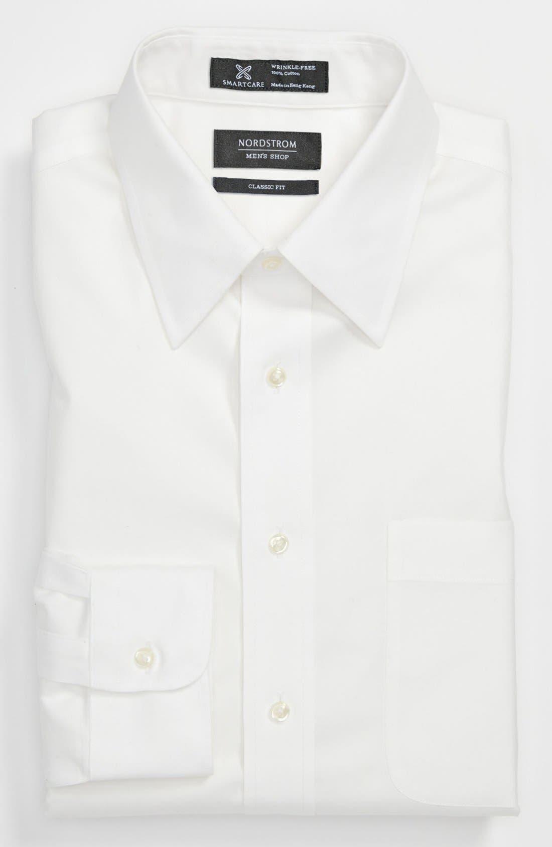 Smartcare<sup>™</sup> Classic Fit Solid Dress Shirt,                         Main,                         color, WHITE
