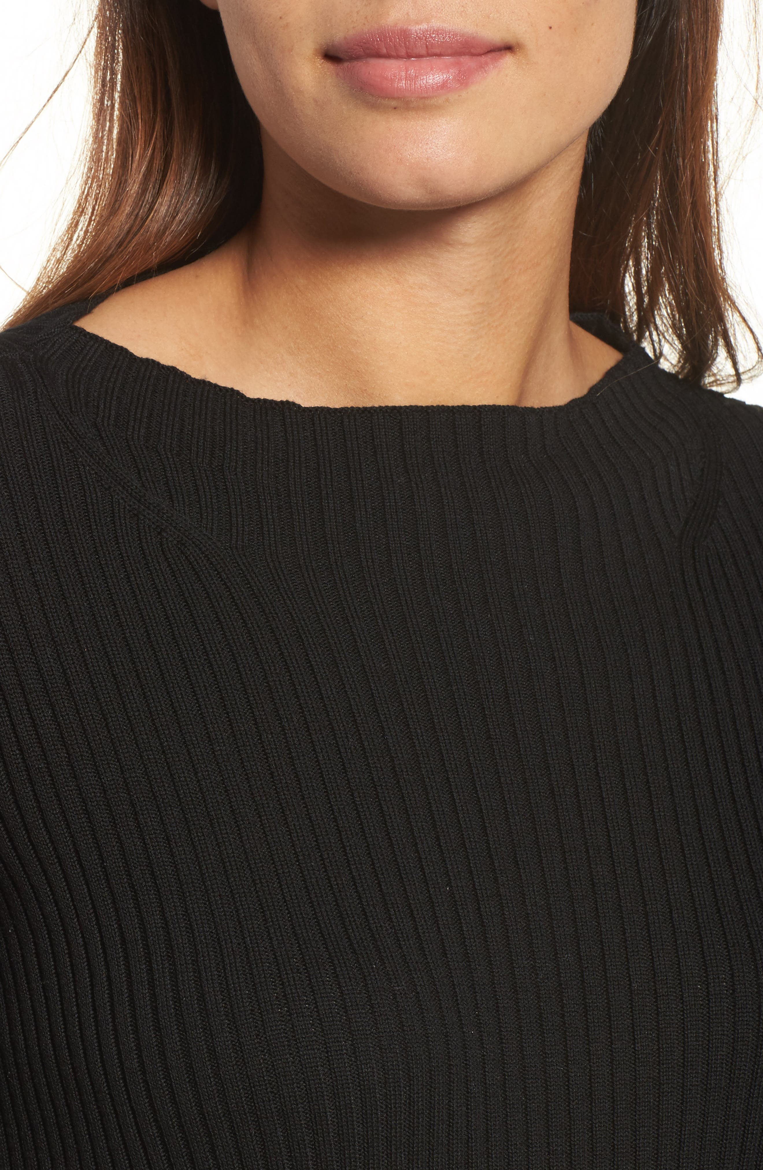 Ribbed Tencel<sup>®</sup> Sweater,                             Alternate thumbnail 4, color,                             001