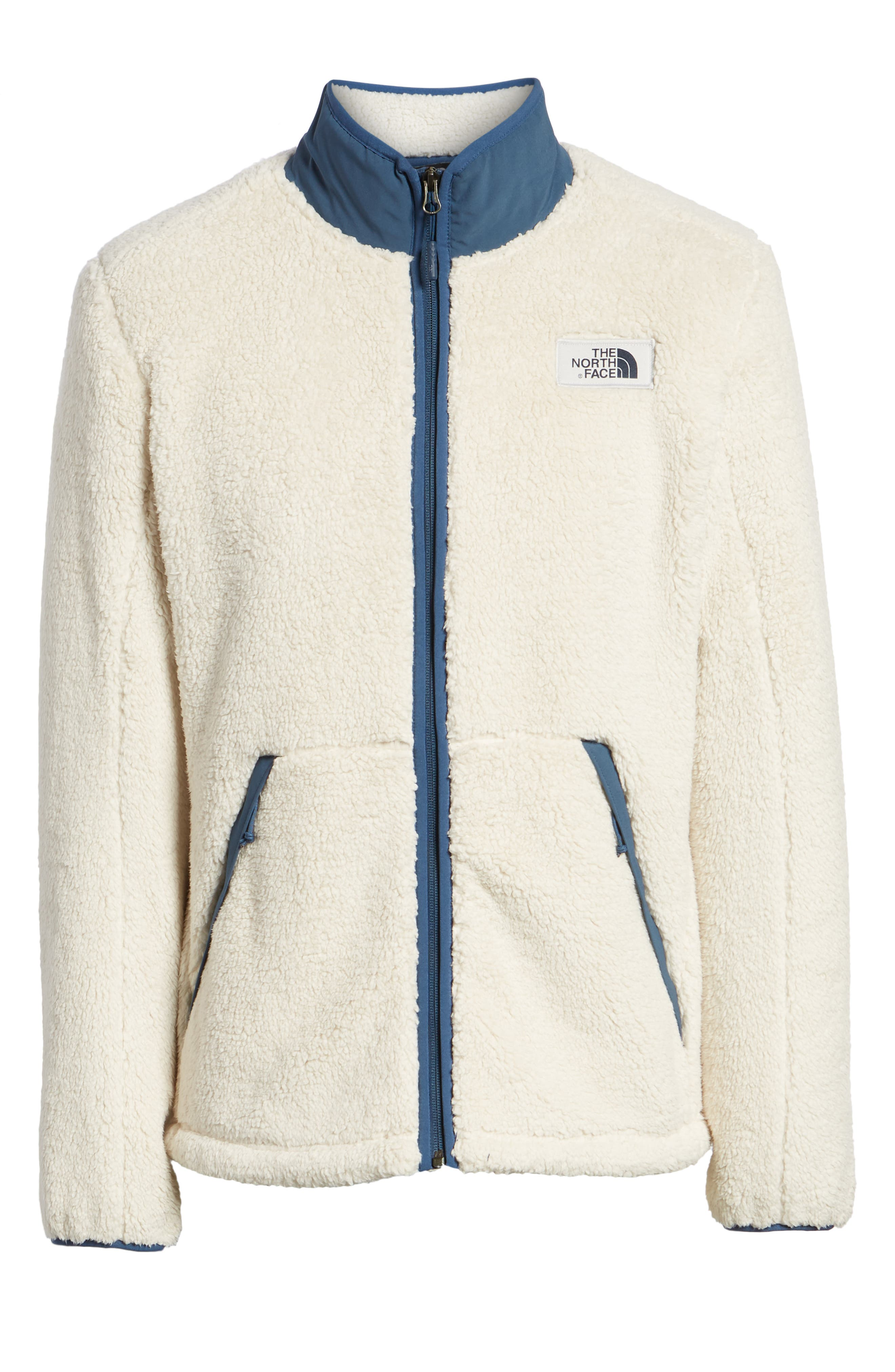 Campshire Zip Fleece Jacket,                             Alternate thumbnail 6, color,                             VINTAGE WHITE/ SHADY BLUE