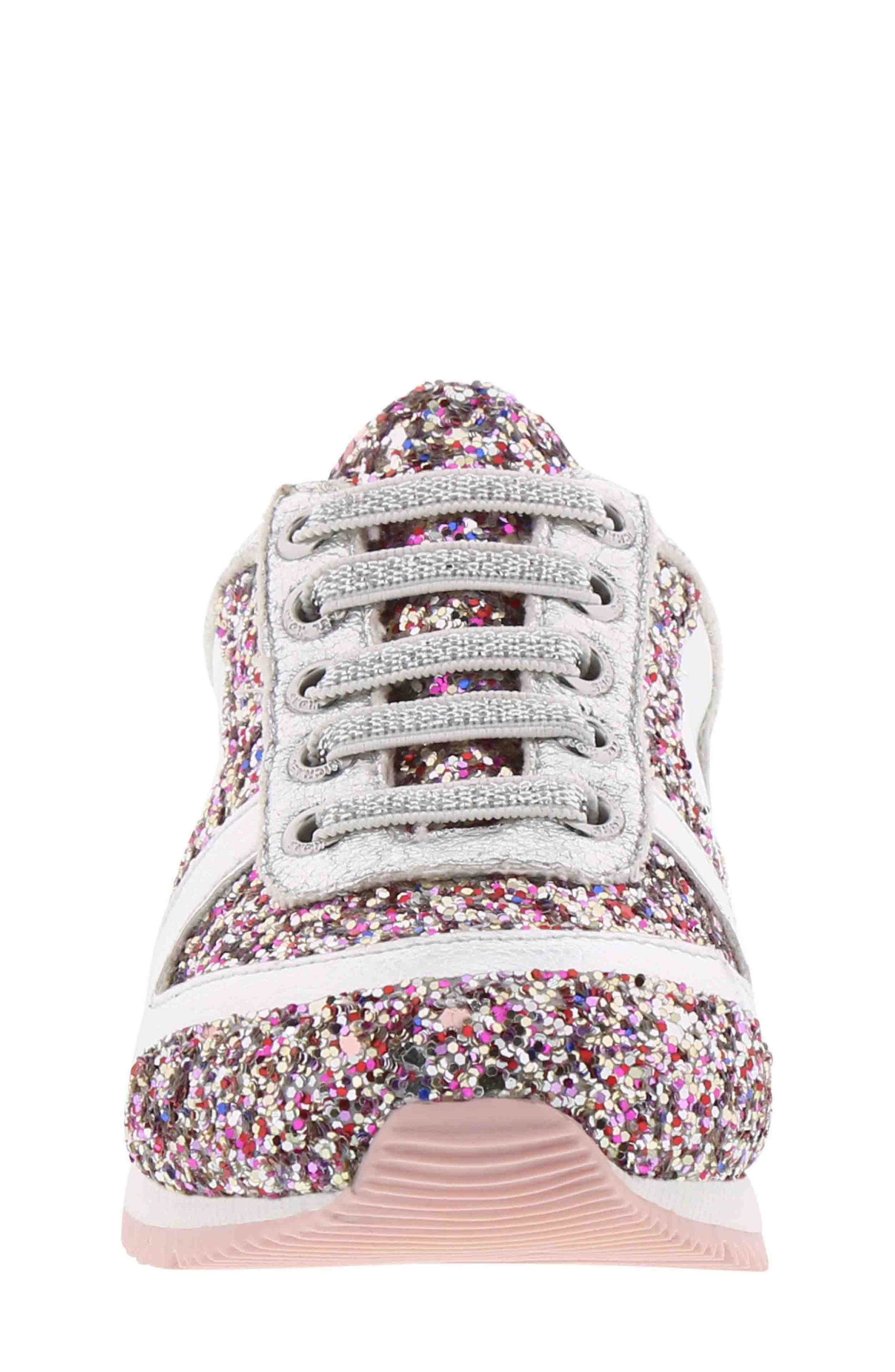 Allie Beatz Glitter Sneaker,                             Alternate thumbnail 4, color,                             SILVER MULTI