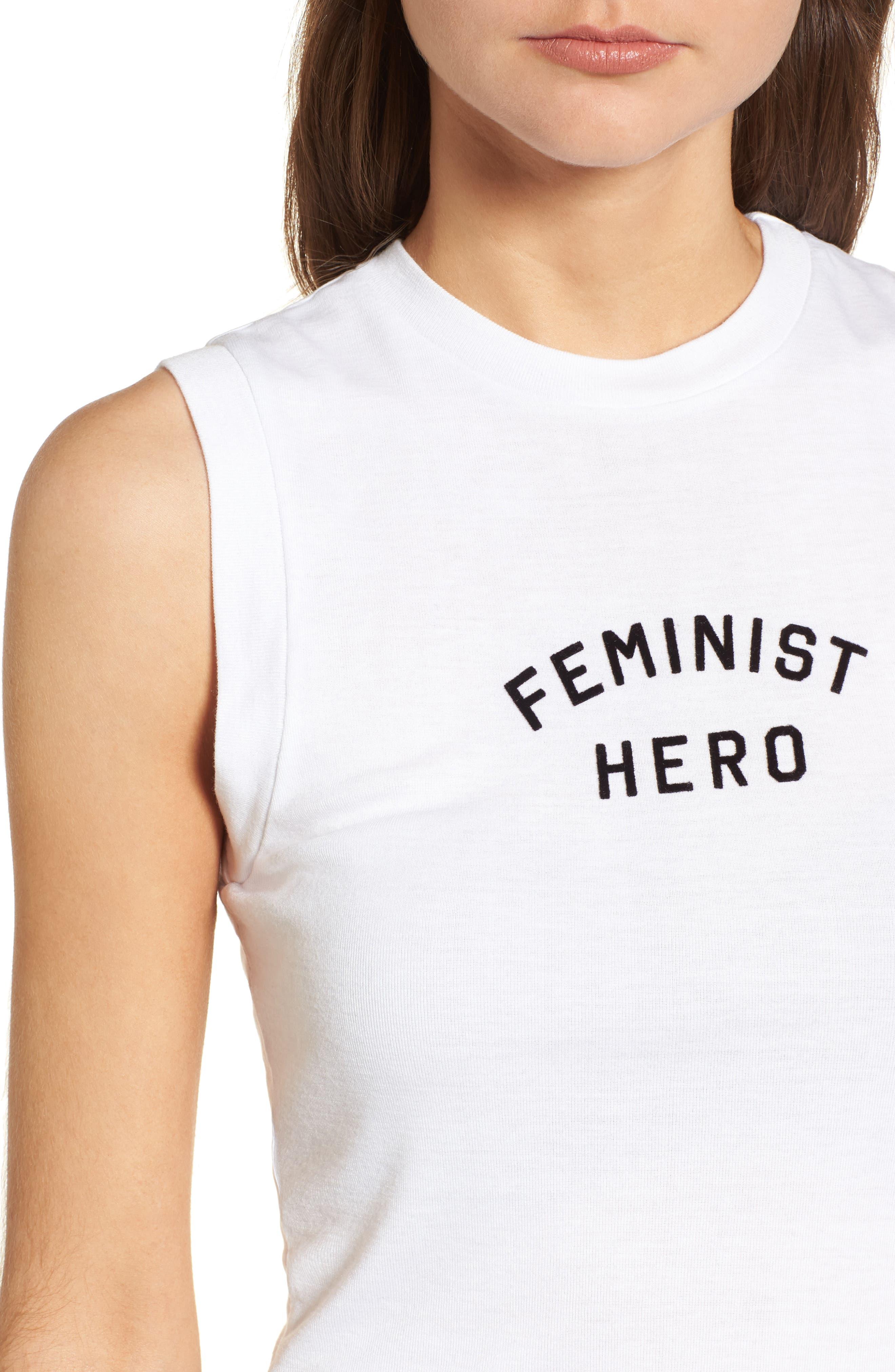 Feminist Hero Keaton Tank,                             Alternate thumbnail 4, color,