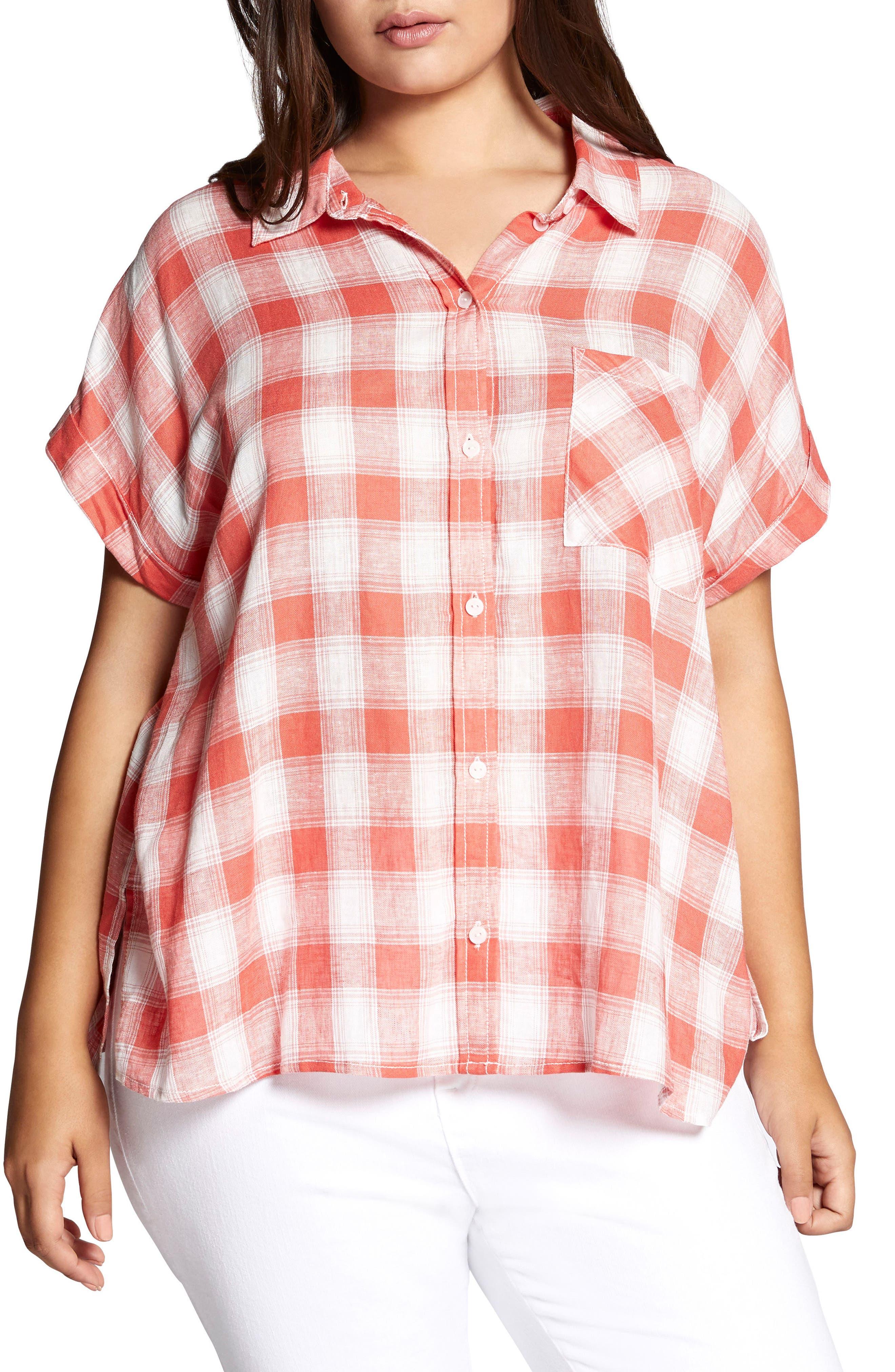 Mod Check Boyfriend Shirt,                         Main,                         color, CHILI PLAID