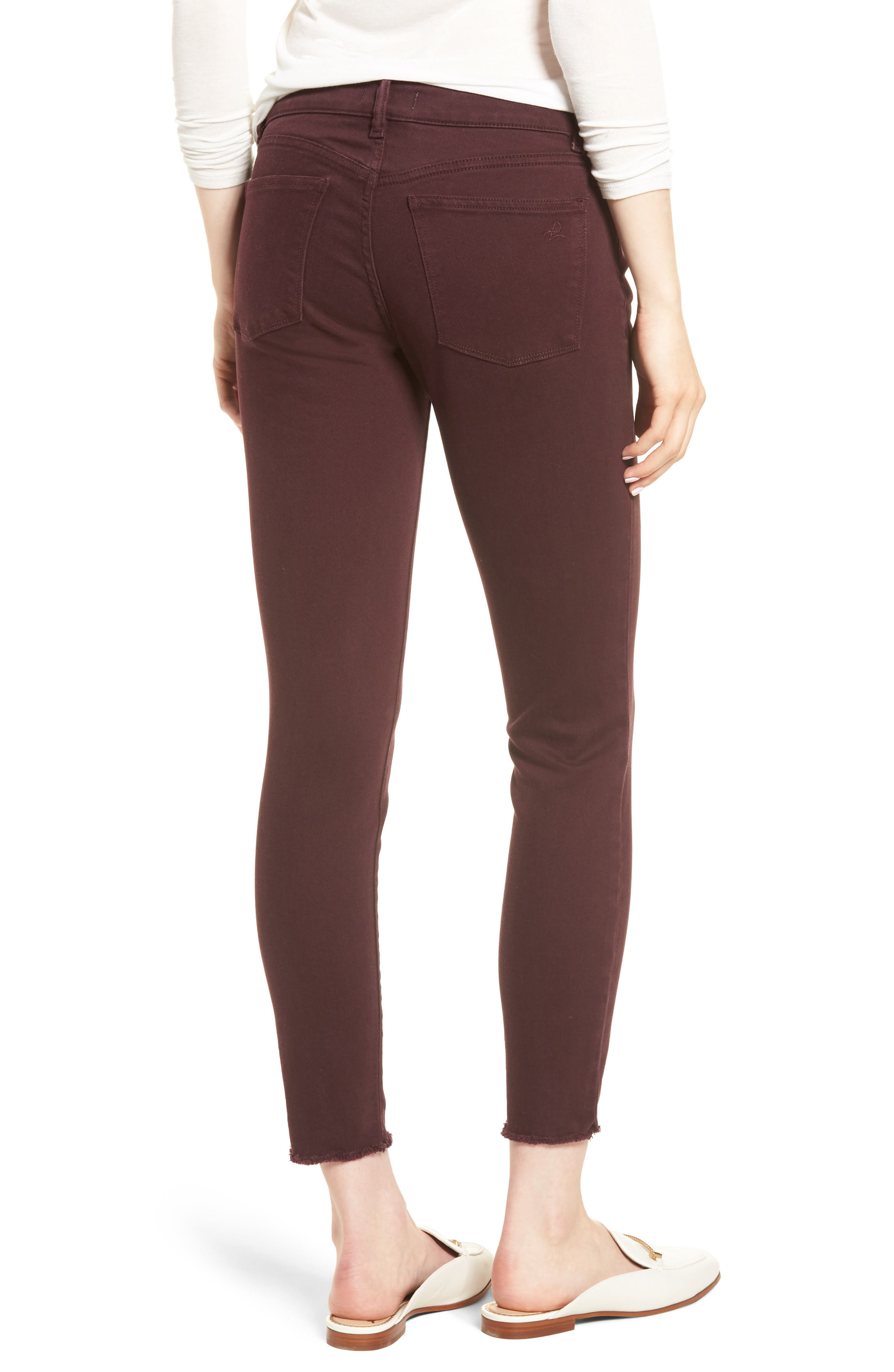 Margaux Instasculpt Ankle Skinny Jeans,                             Alternate thumbnail 3, color,                             DEEP BURGUNDY