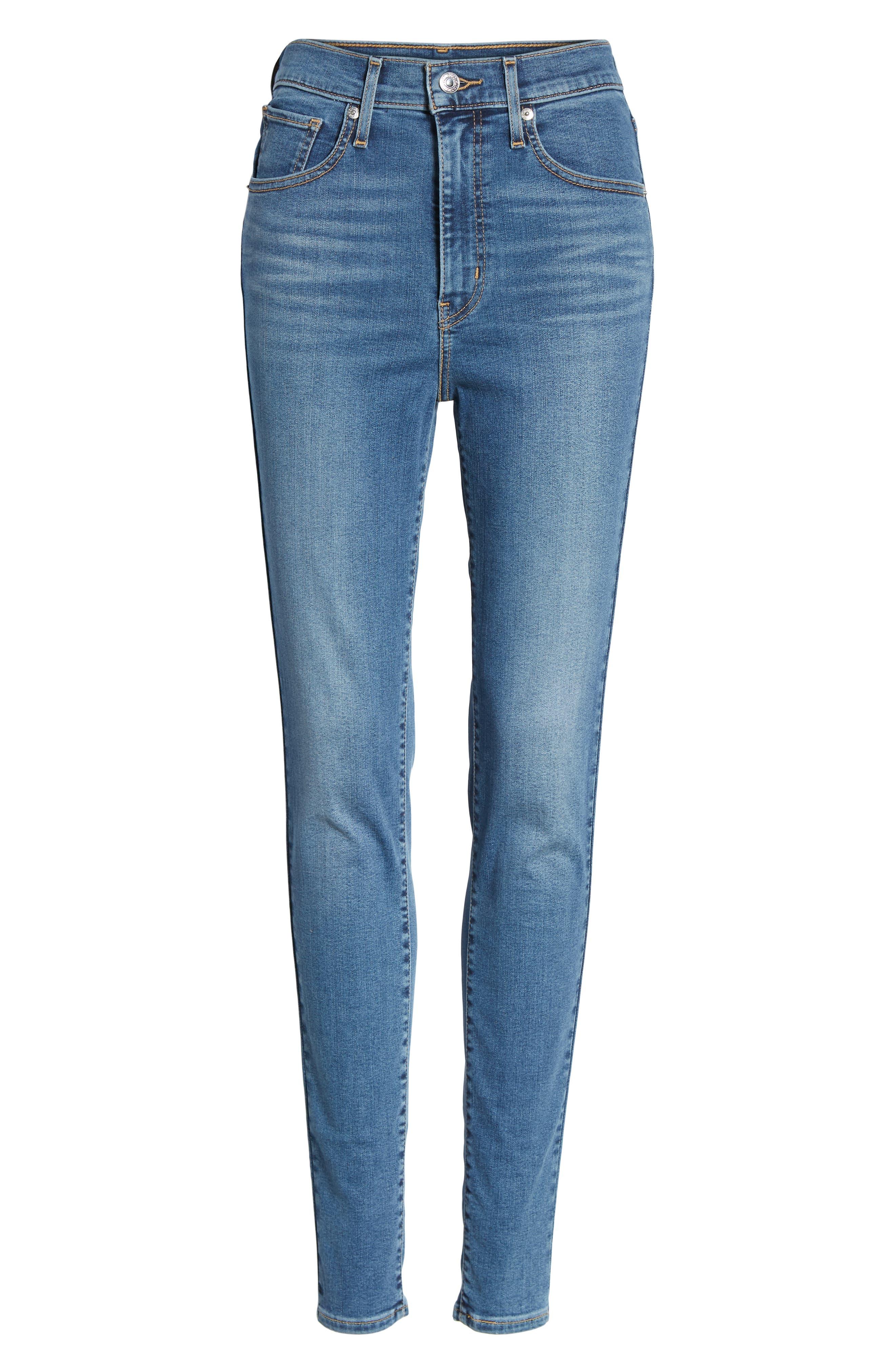 Mile High Super Skinny Jeans,                             Alternate thumbnail 7, color,                             MED BLUE 1