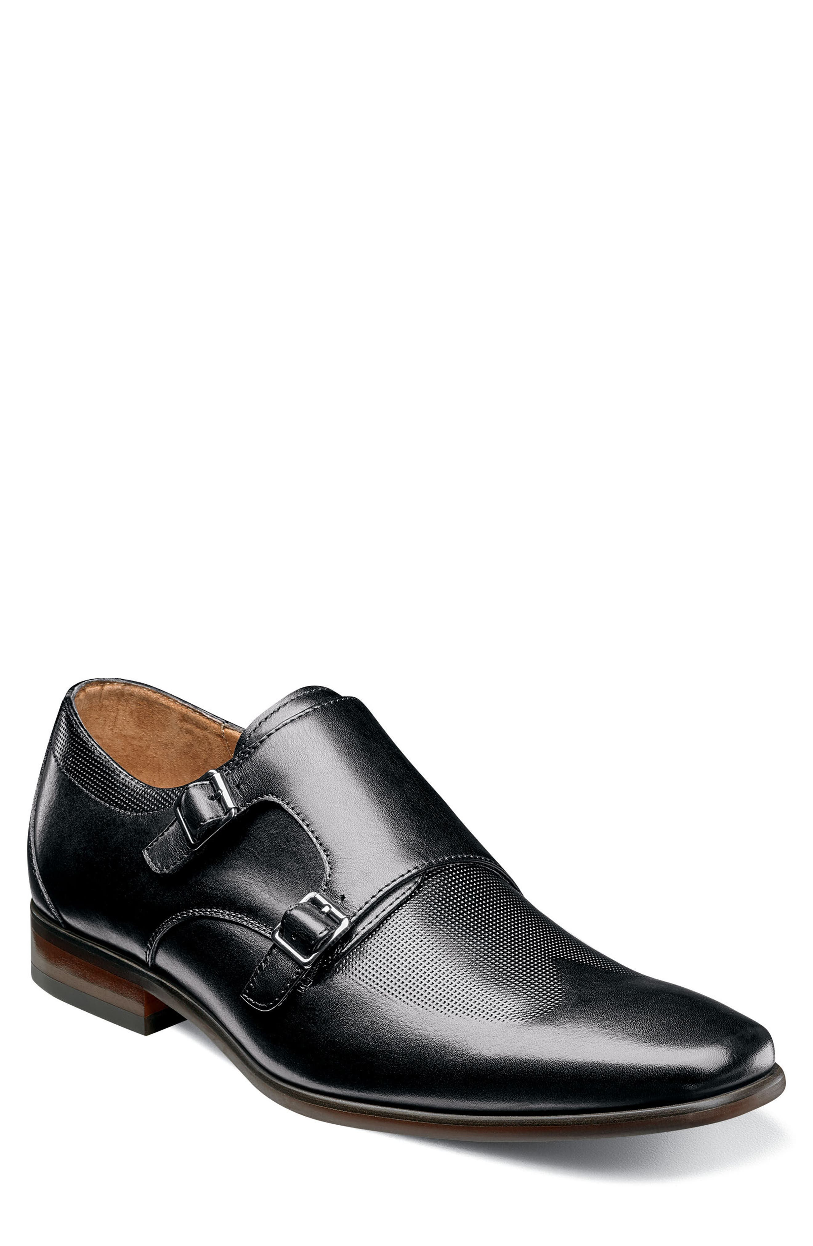 Postino Textured Double Strap Monk Shoe,                             Main thumbnail 1, color,                             BLACK LEATHER