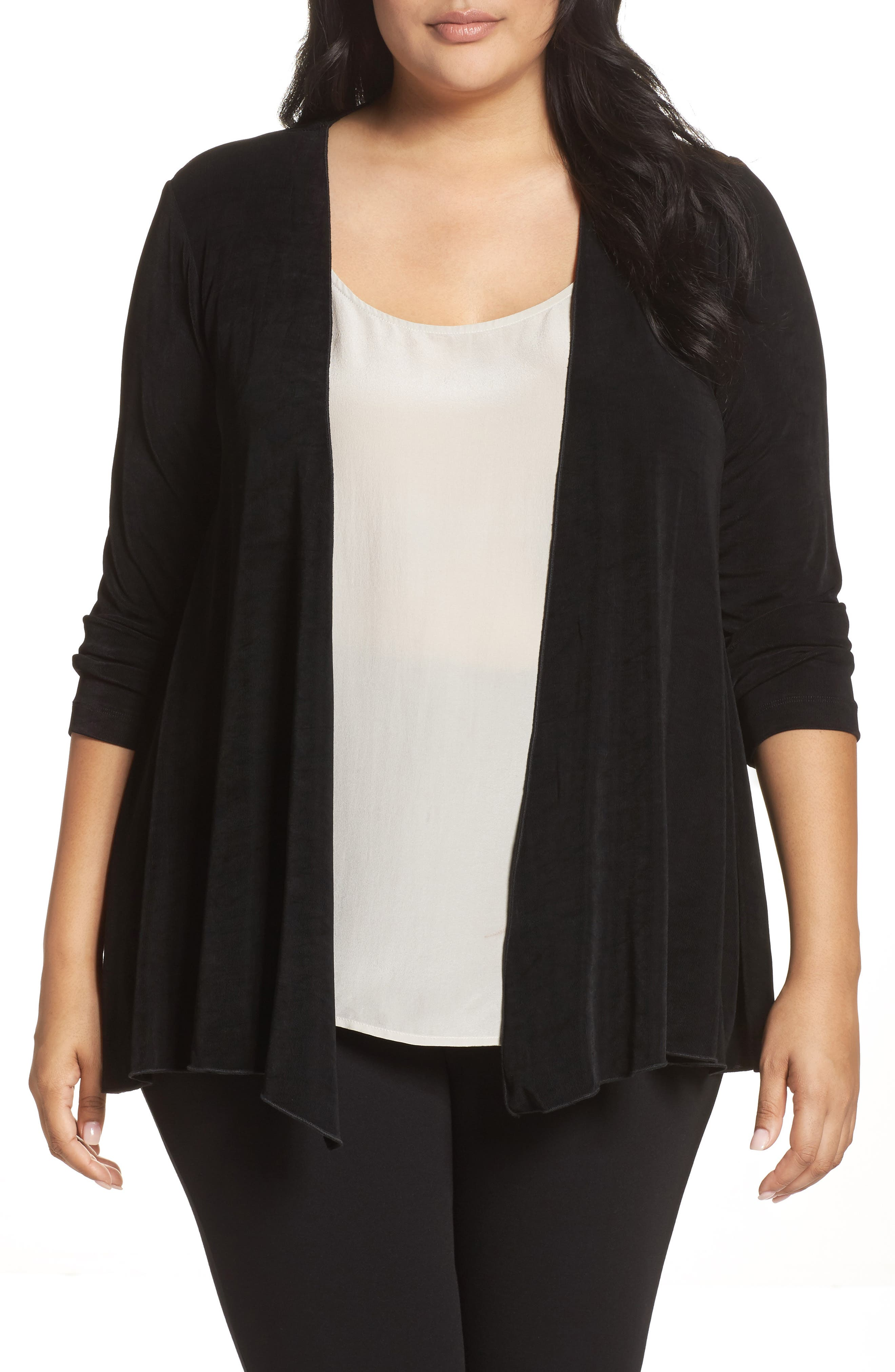 Open Front Swing Cardigan,                         Main,                         color, BLACK