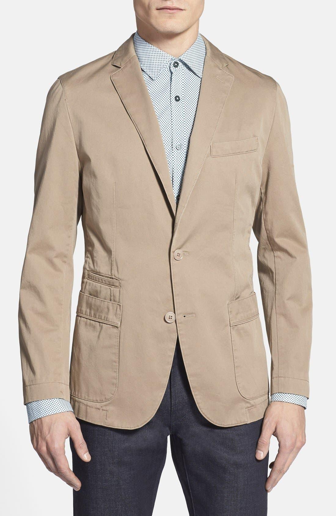 BOSS,                             'Menvin' Trim Fit Cotton Twill Sport Coat,                             Main thumbnail 1, color,                             262