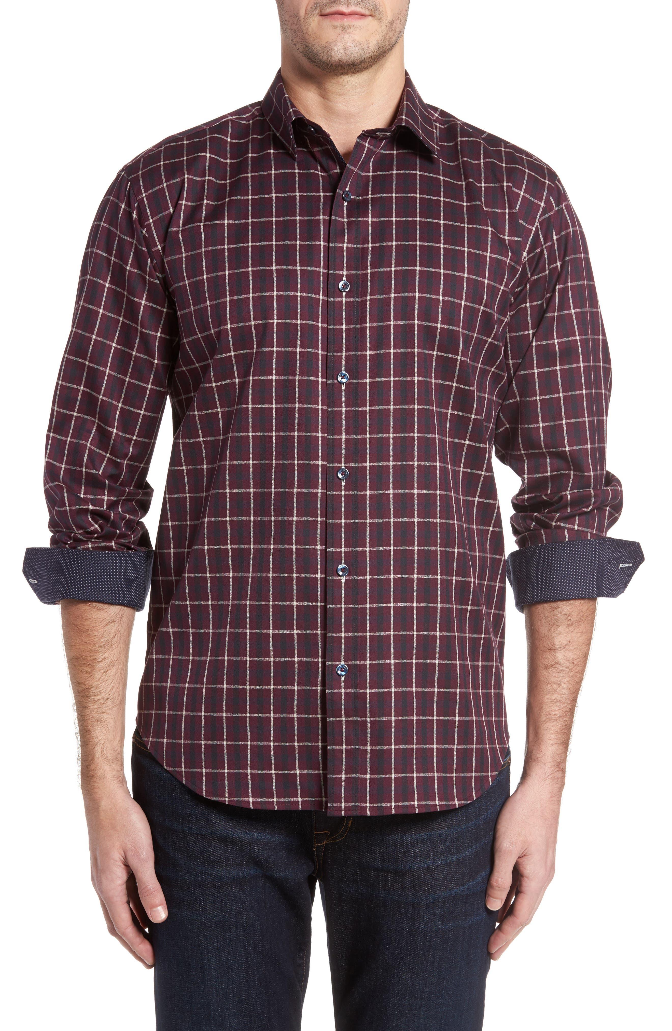 Shaped Fit Plaid Sport Shirt,                         Main,                         color, 610