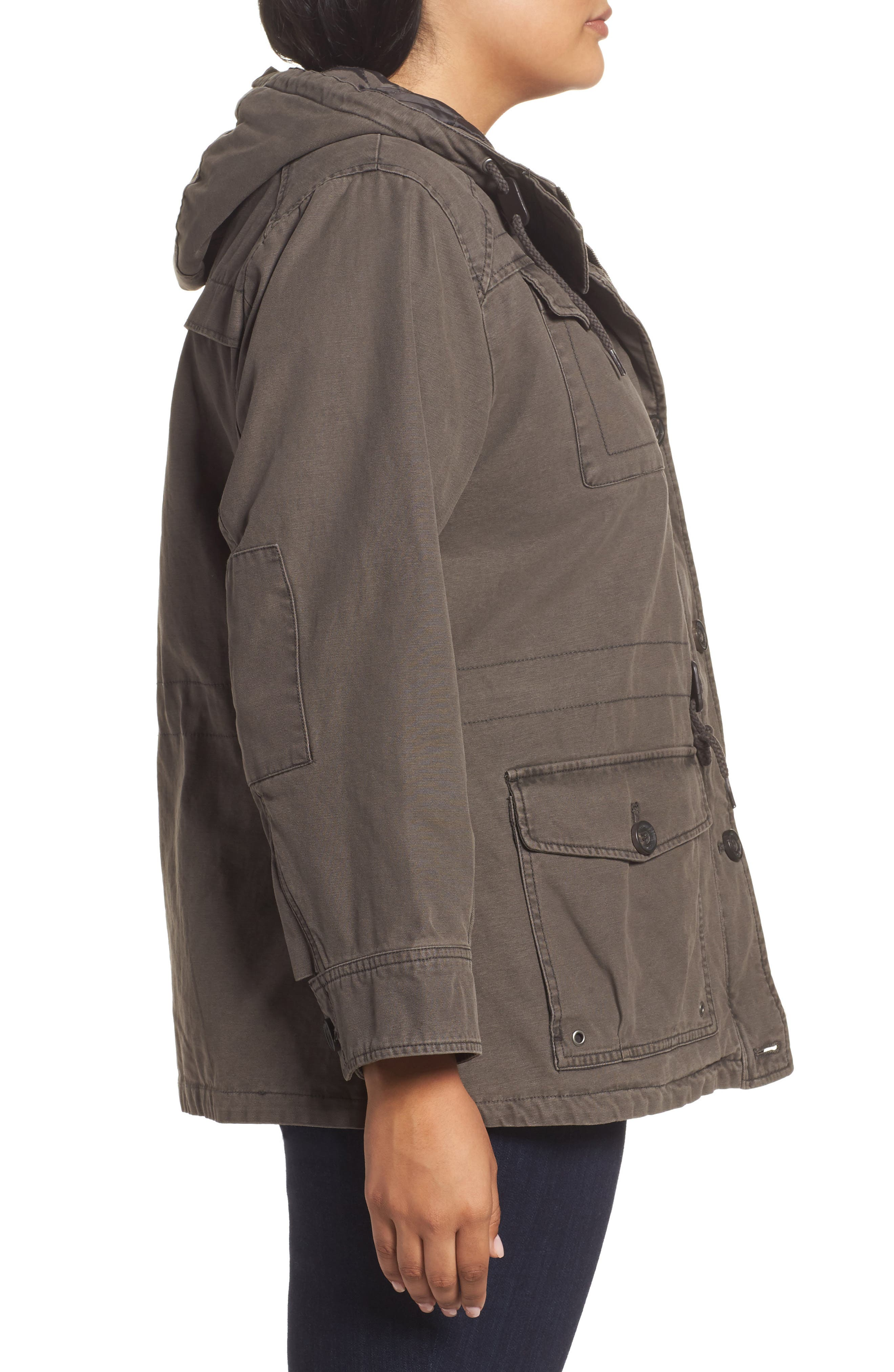 Hooded Cotton Utility Jacket,                             Alternate thumbnail 8, color,