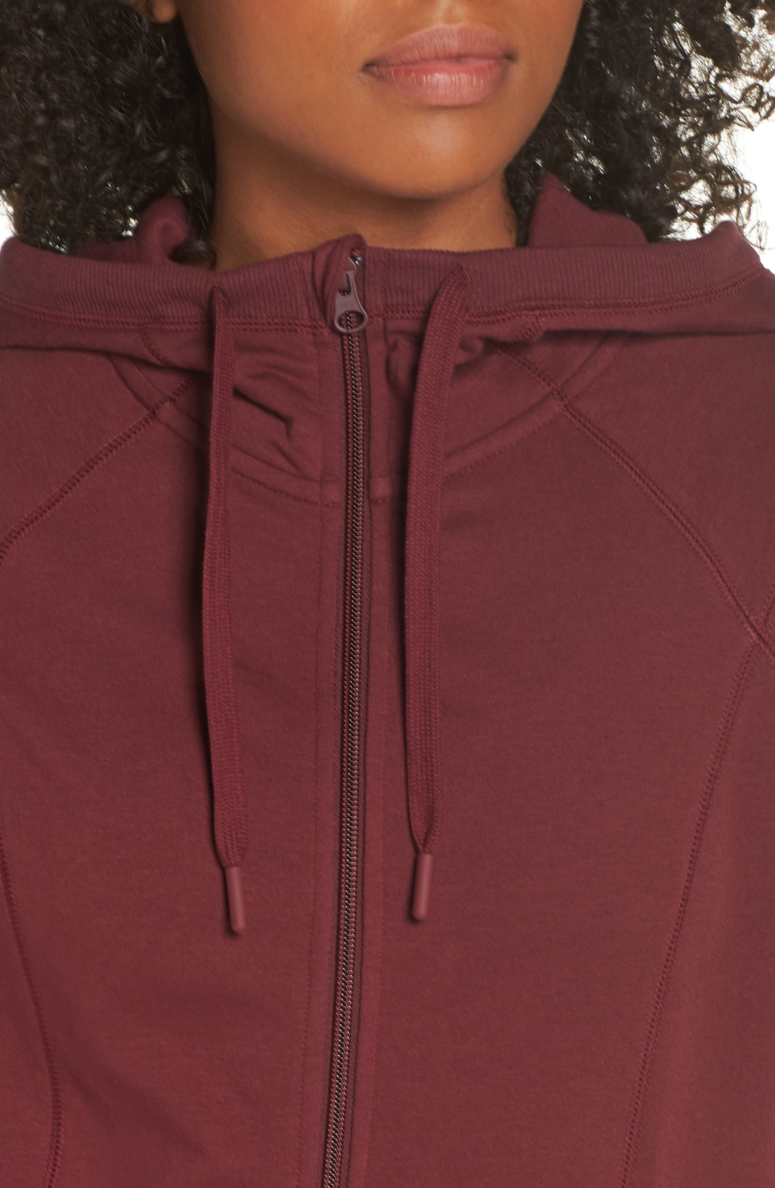 Outta Town Zip Hoodie,                             Alternate thumbnail 4, color,                             RED TANNIN