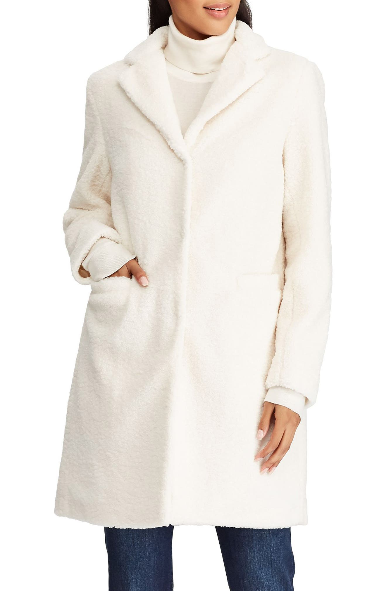 Teddy Reefer Coat,                             Main thumbnail 1, color,                             CREAM
