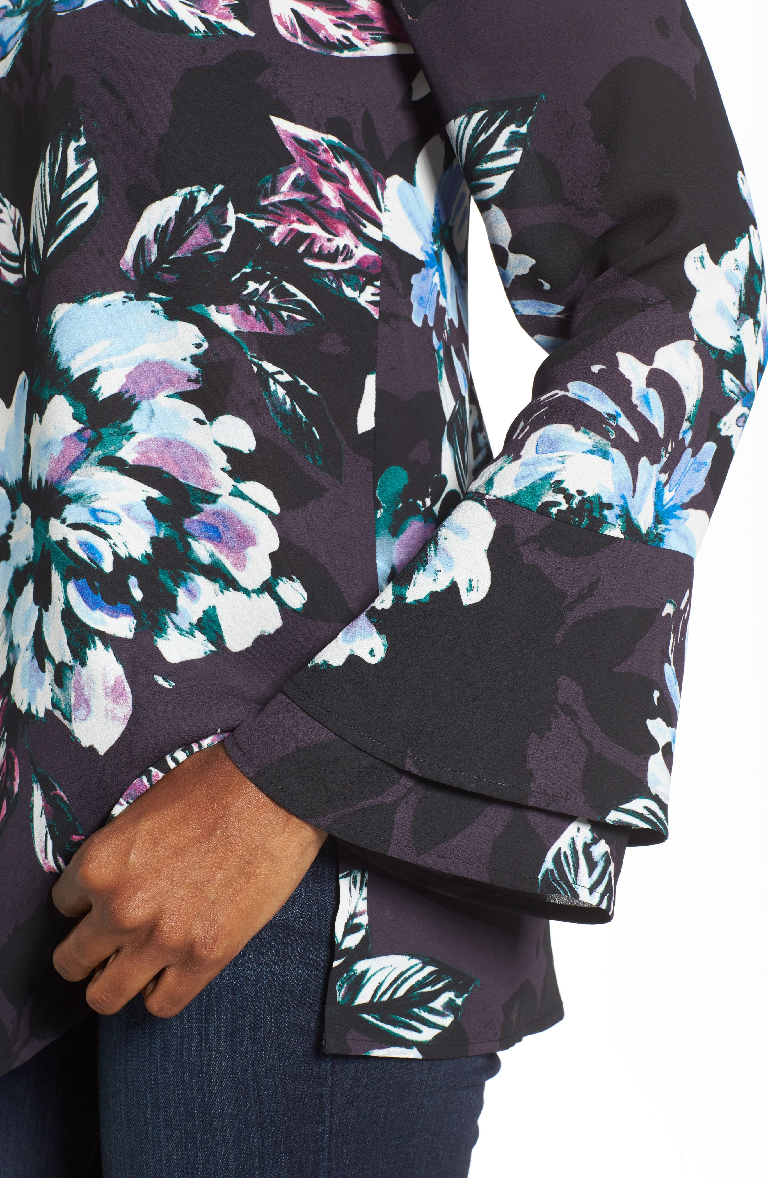 Twilight Blooms Bell Sleeve Blouse,                             Alternate thumbnail 4, color,                             006