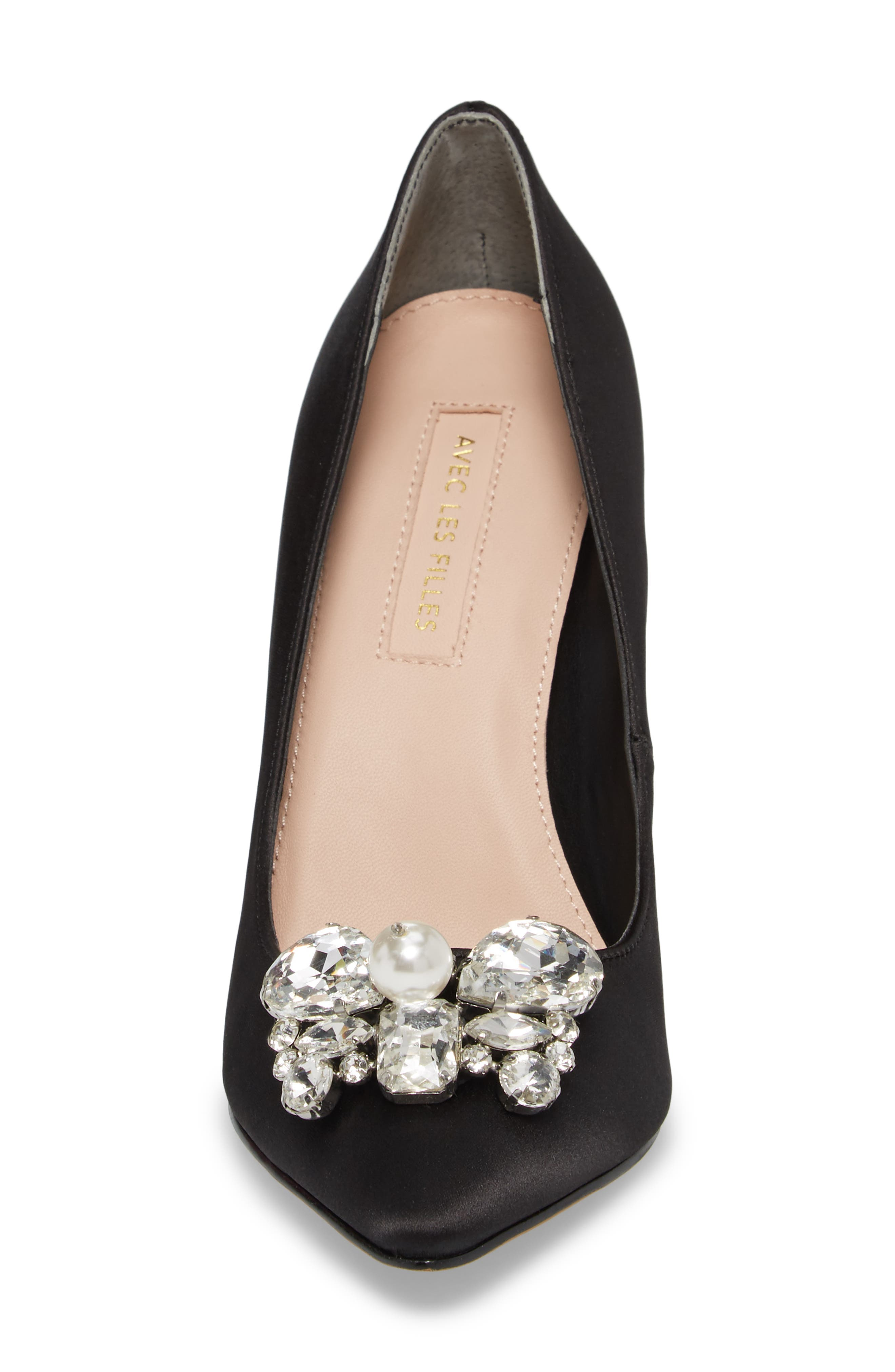 Chiara Embellished Pointy Toe Pump,                             Alternate thumbnail 4, color,                             001