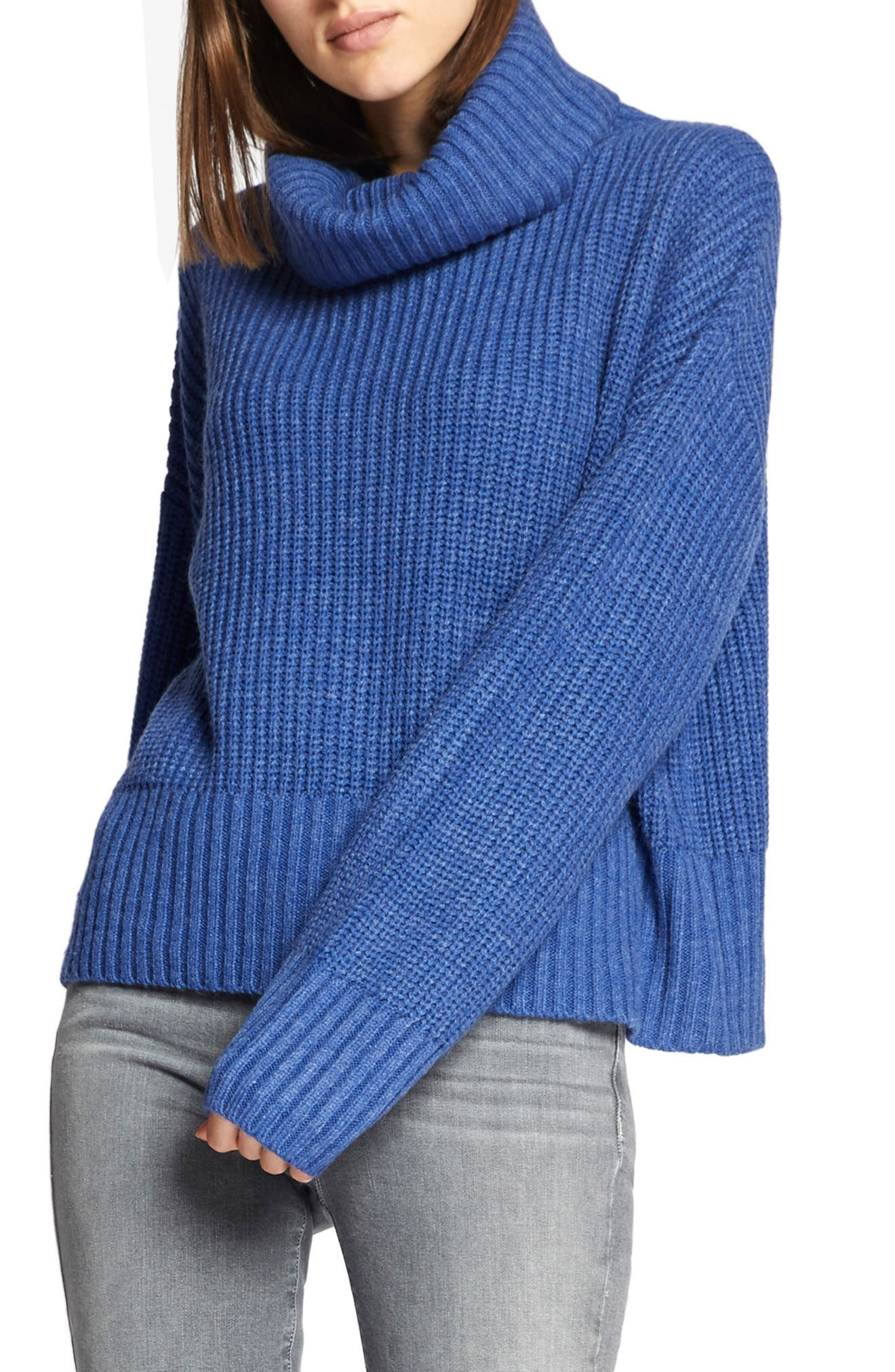 Cowl Neck Shaker Sweater,                         Main,                         color, HEATHER ELECTRIC BLUE
