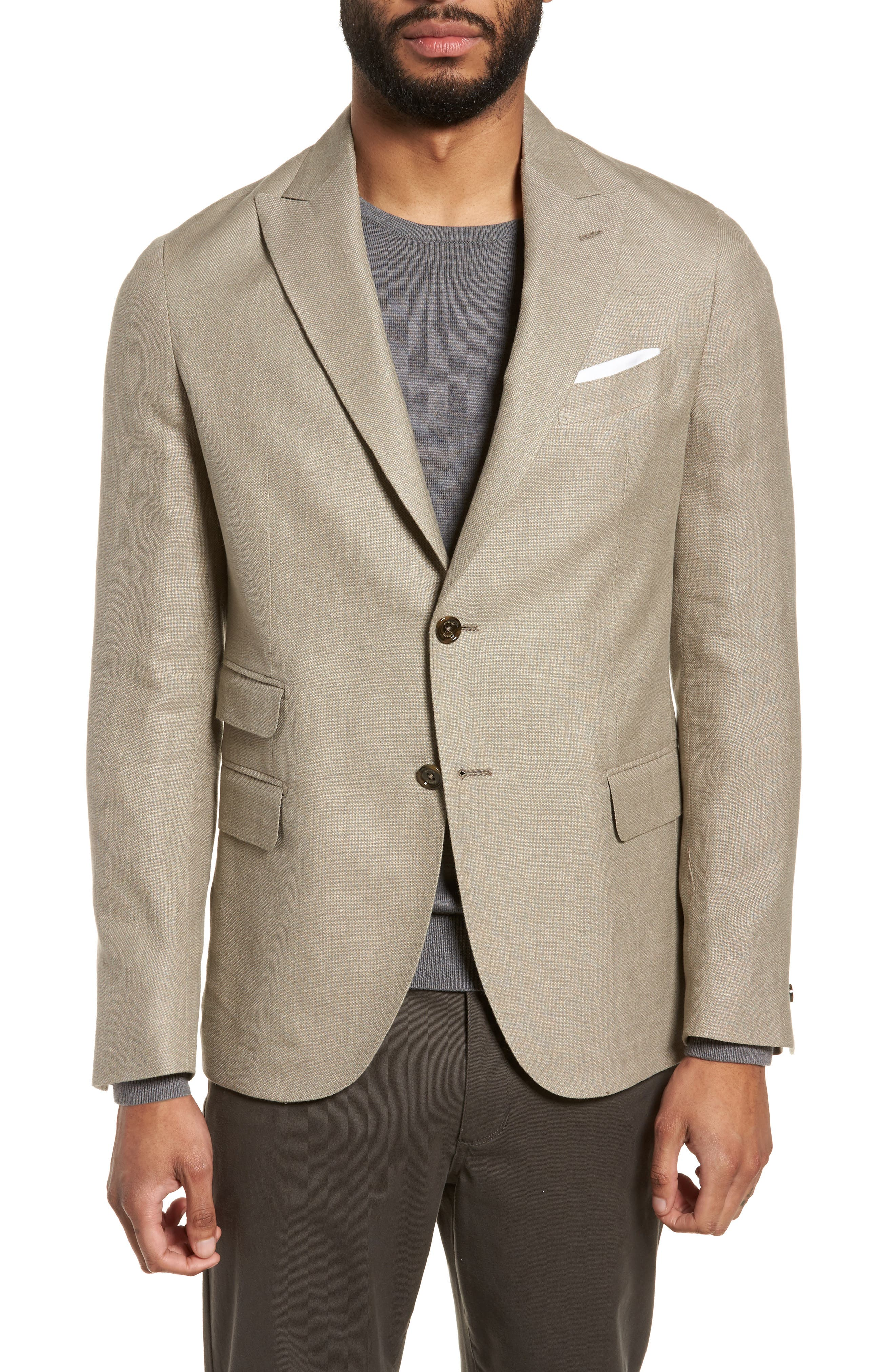 Hopsak Trim Fit Linen Blend Blazer,                             Main thumbnail 1, color,