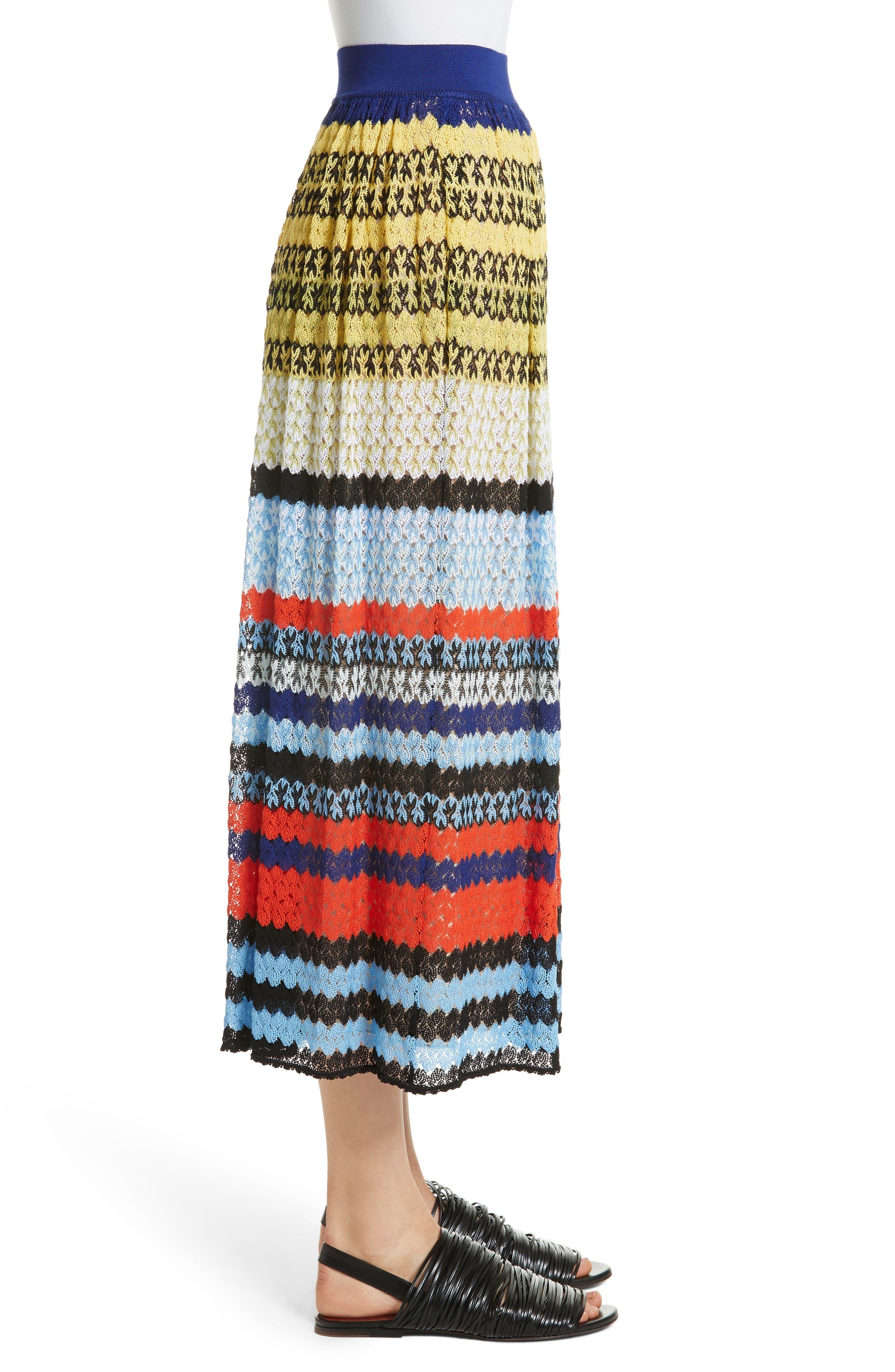 Stripe Knit Midi Skirt,                             Alternate thumbnail 3, color,                             480