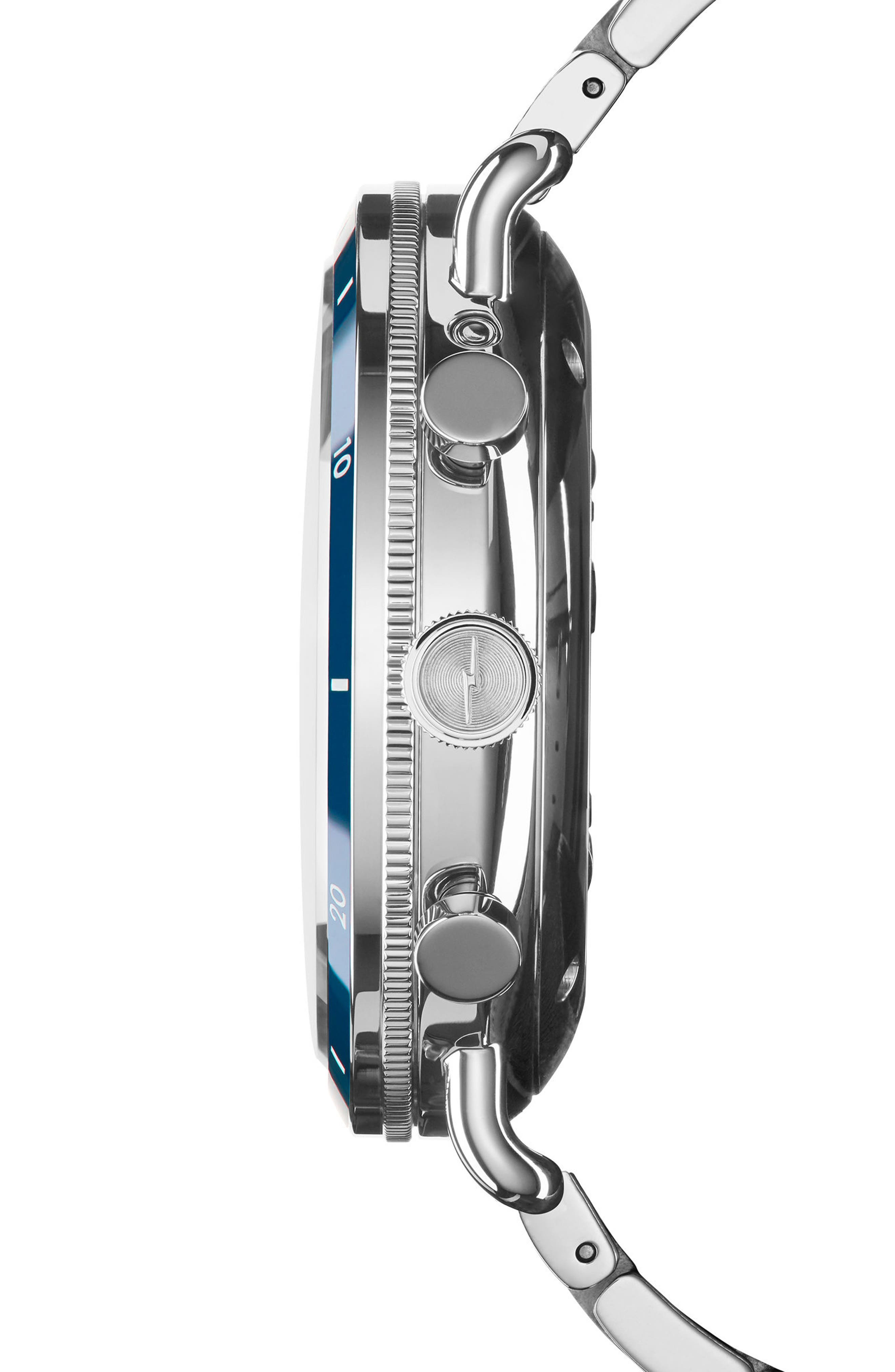 The Canfield Chrono Bracelet Watch, 45mm,                             Alternate thumbnail 3, color,                             SILVER/ MIDNIGHT BLUE/ SILVER