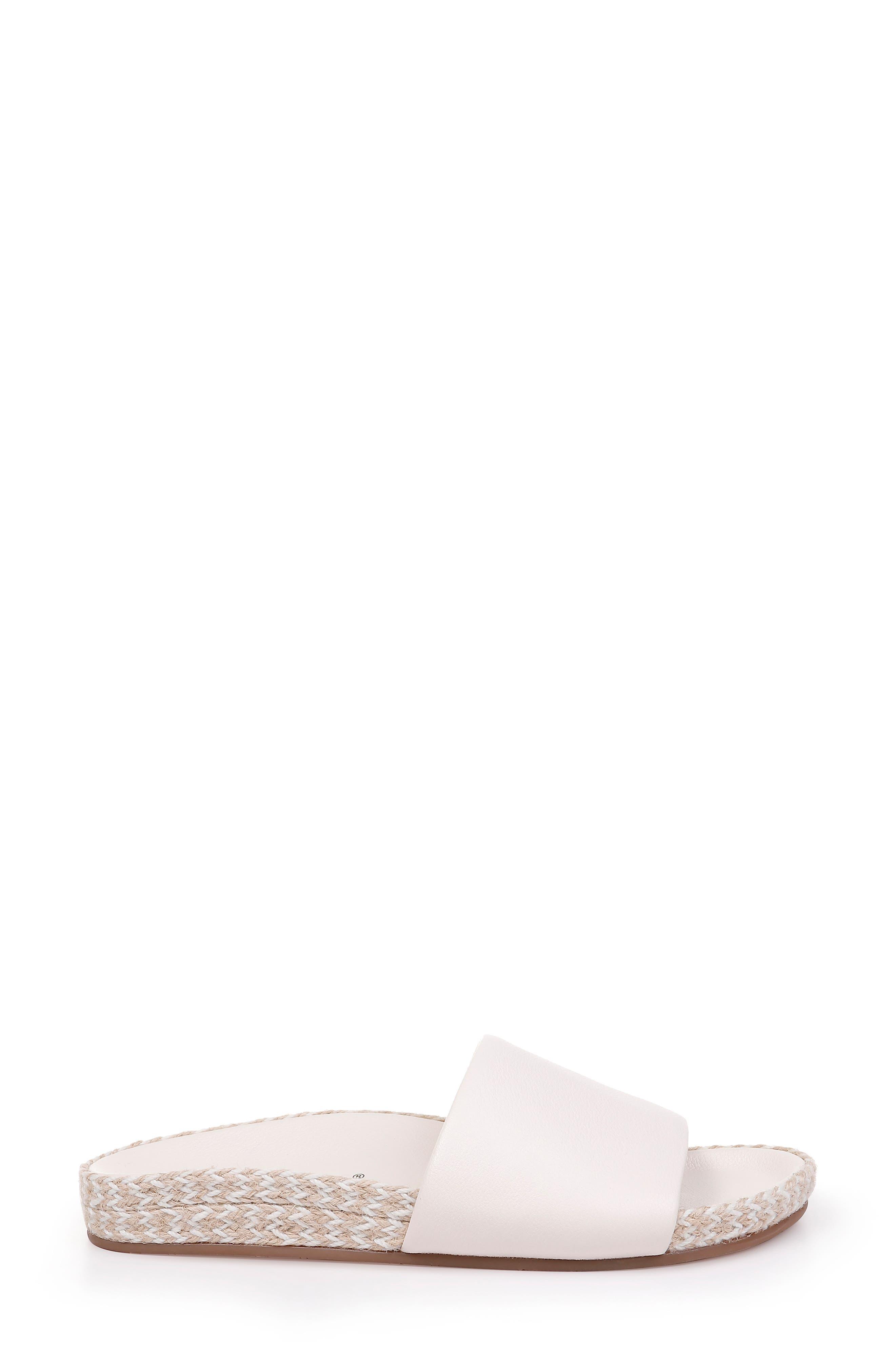 Sandford Espadrille Slide Sandal,                             Alternate thumbnail 3, color,                             OFF WHITE LEATHER