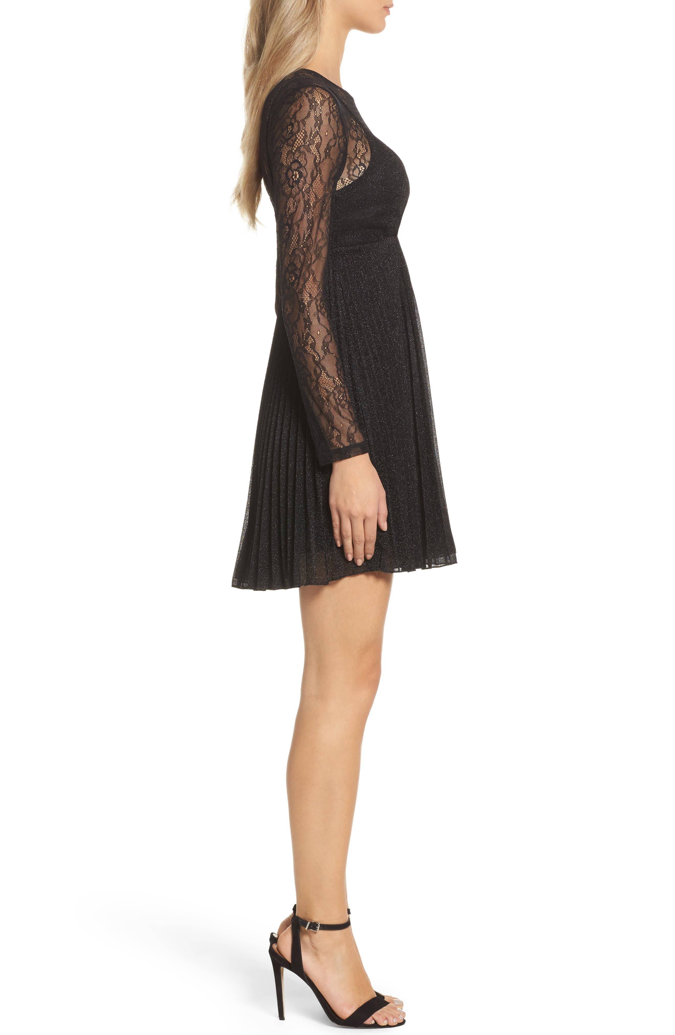 Chantilly Lace Pleated Dress,                             Alternate thumbnail 3, color,