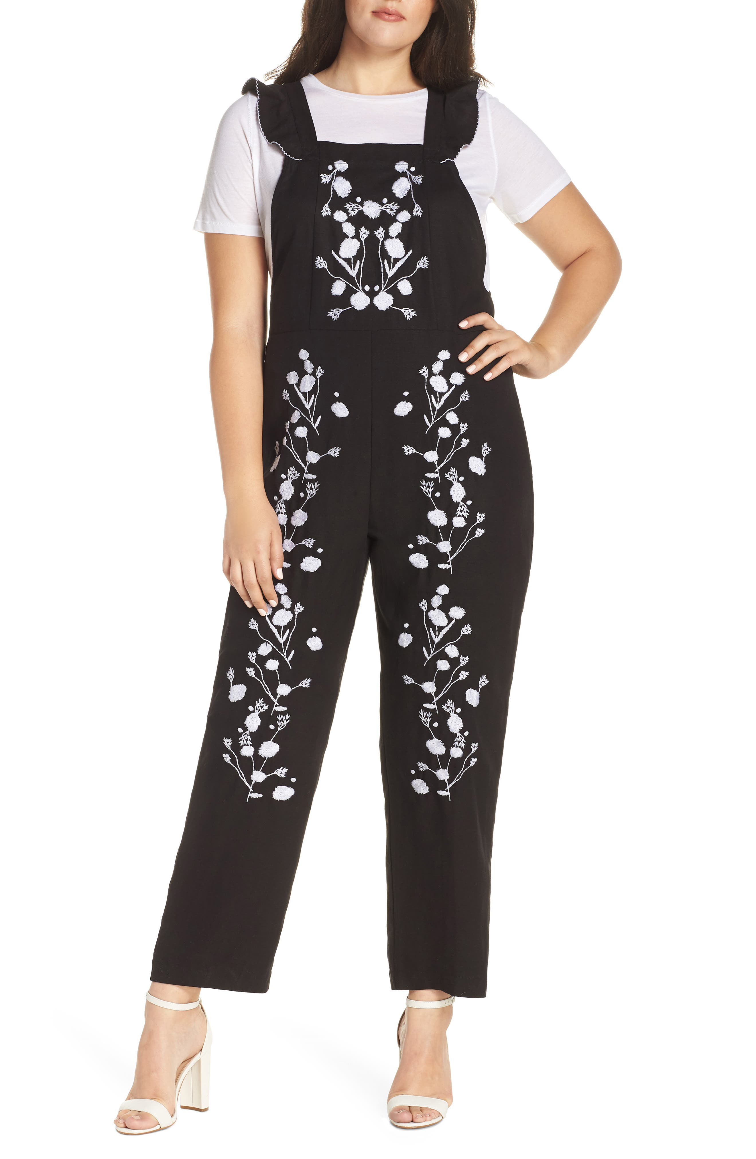 Flounced Embroidered Jumpsuit,                             Alternate thumbnail 2, color,                             BLACK